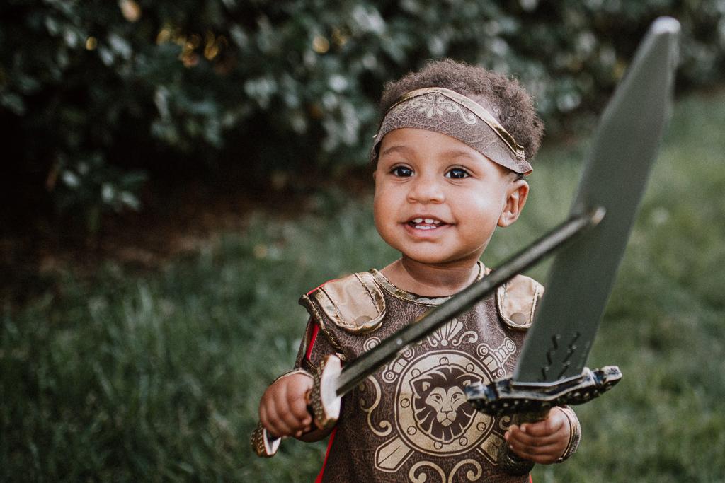 Toddler girl warrior fighter gladiator Beaverdam Run Ashburn Virginia Loudoun County Marti Austin Photography TGHP The Gold Hope Project