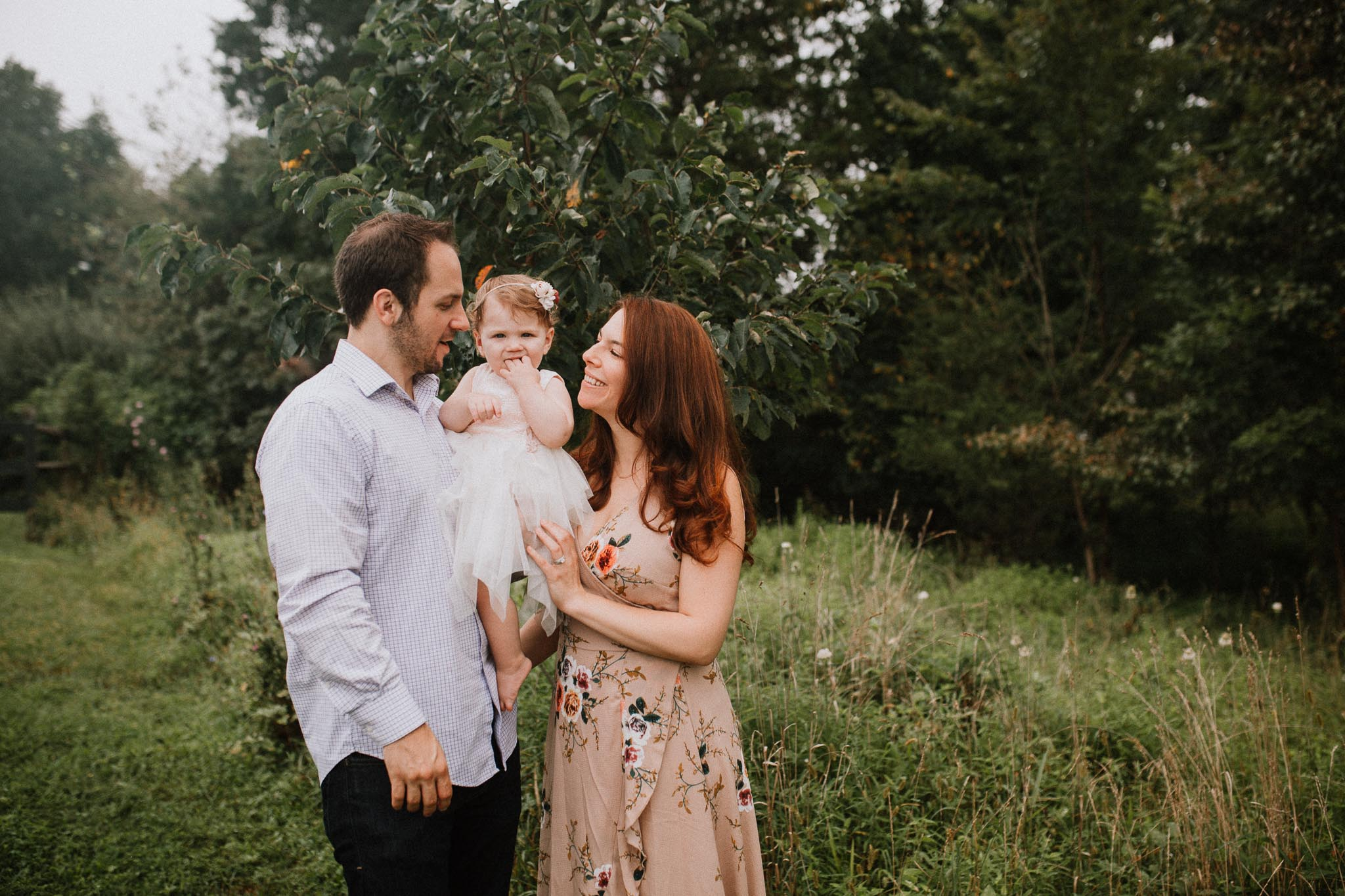 Family of three baby girl lifestyle Claude Moore Park Sterling Virginia Marti Austin Photography