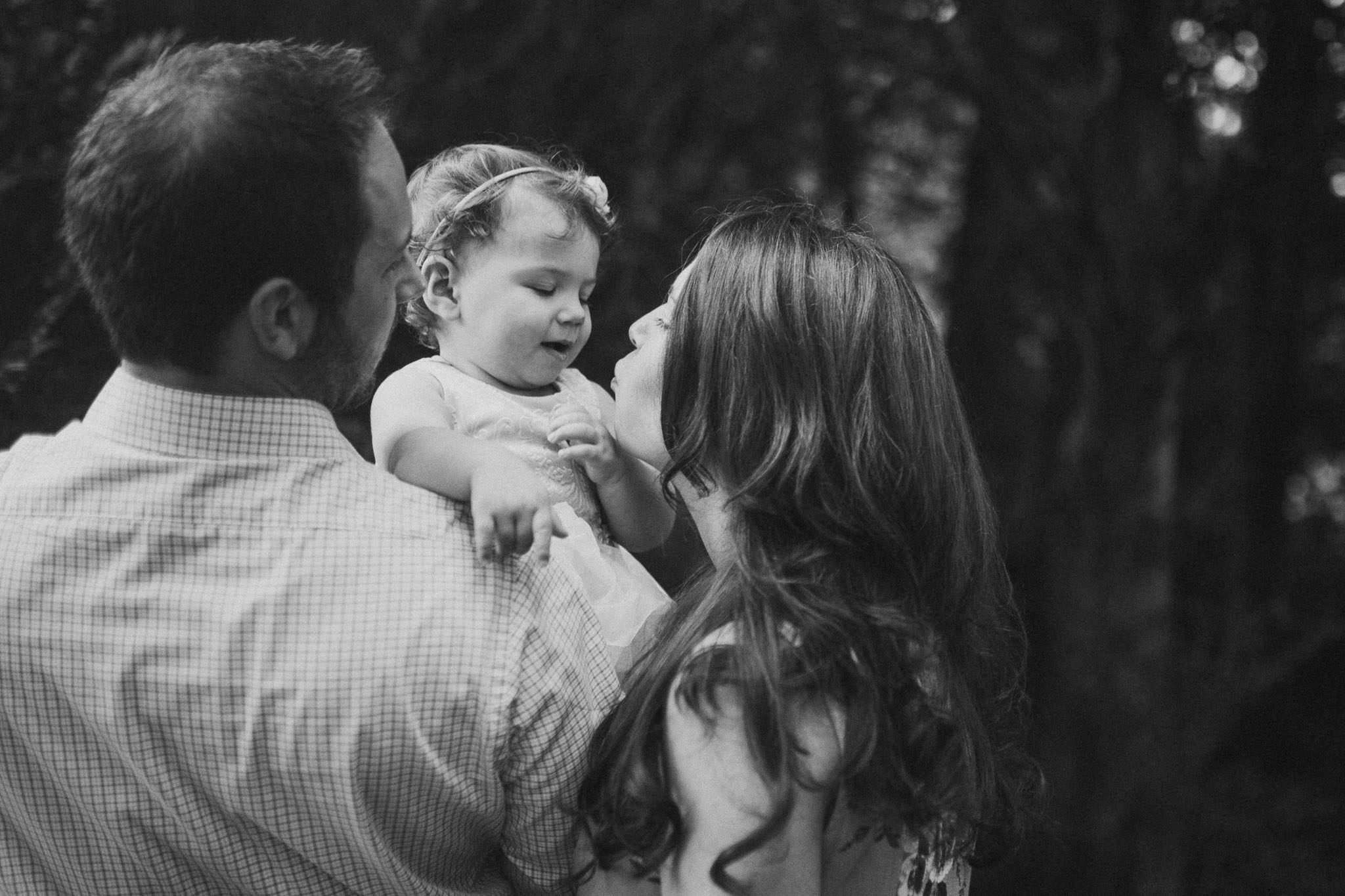 Black and white family portrait baby girl Sterling Virginia Claude Moore Park Lifestyle Family Marti Austin Photography