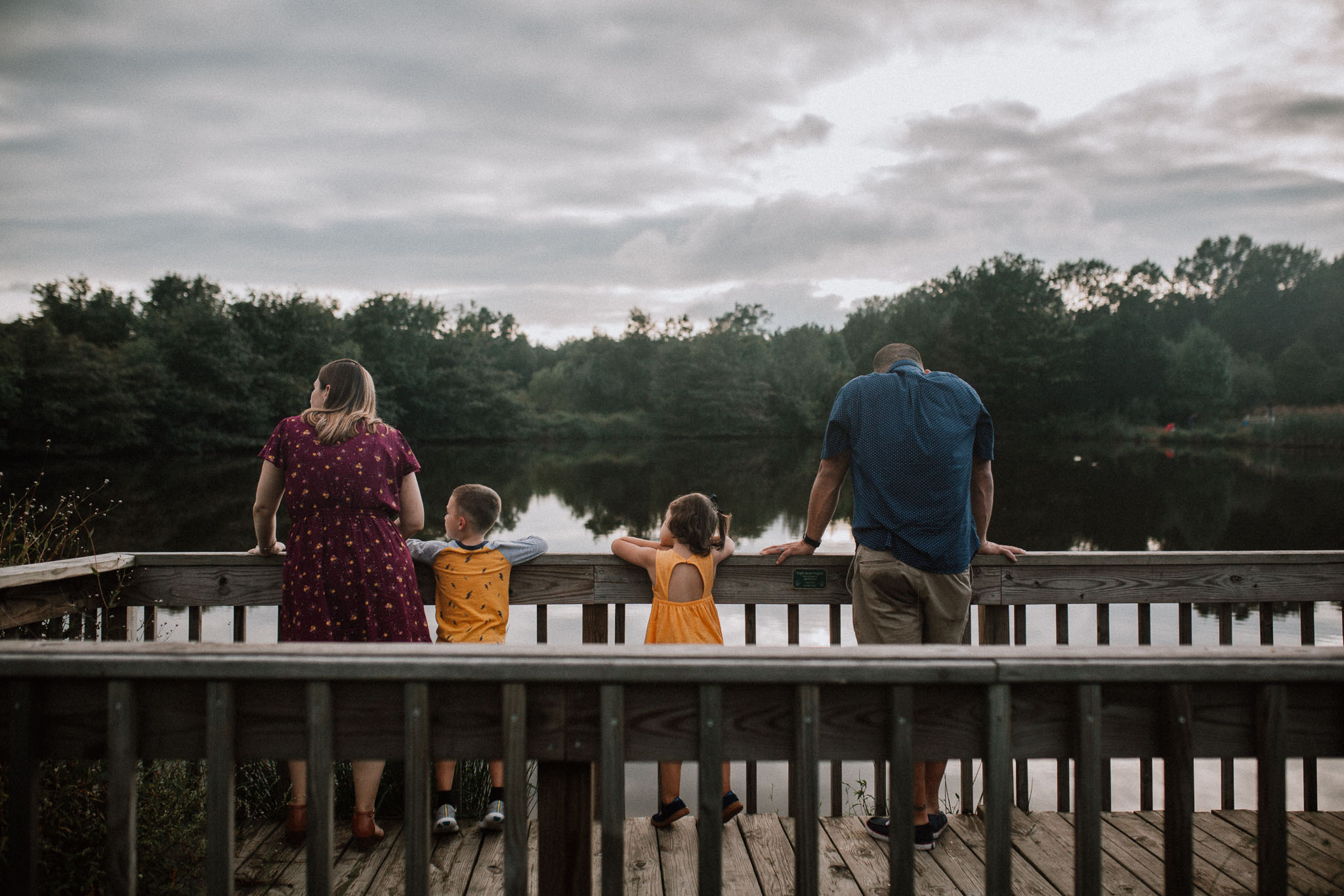 family of four lake sunset Claude Moore Park Heritage Farm Museum Sterling Virginia Lifestyle Documentary Fall Family Marti Austin Photography