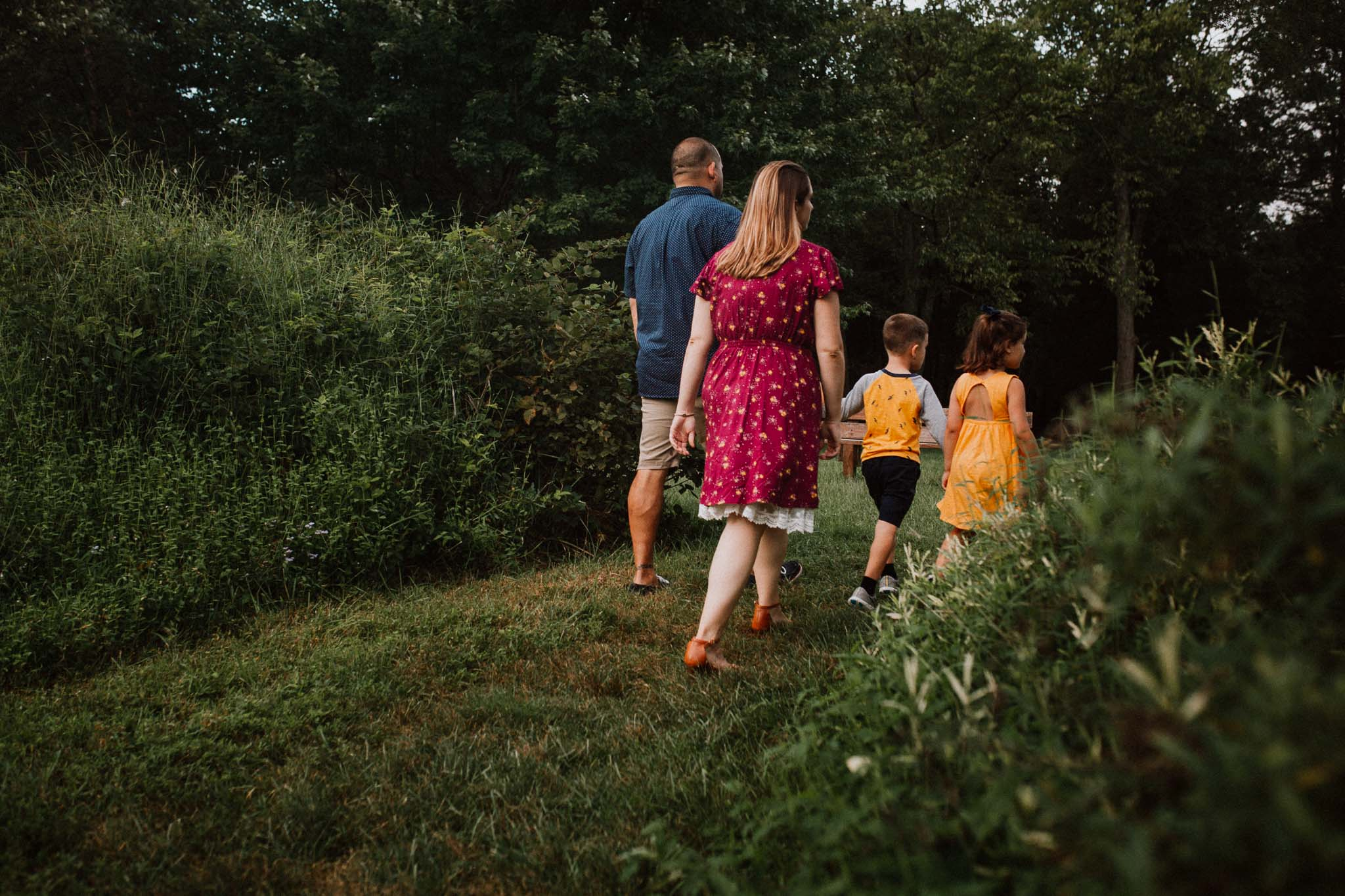 family of four siblings exploring Claude Moore Park Heritage Farm Museum Sterling Virginia Lifestyle Documentary Fall Family Marti Austin Photography