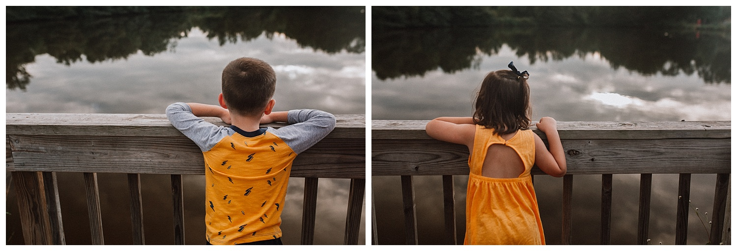 brother sister sibling portraits lake sunset collage Claude Moore Park Heritage Farm Museum Sterling Virginia Lifestyle Documentary Fall Family Marti Austin Photography
