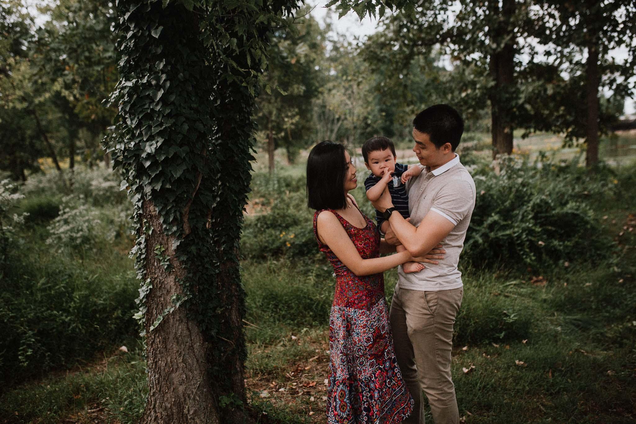 family of three baby boy lifestyle documentary family Barn at One Loudoun Ashburn Virginia Marti Austin Photography