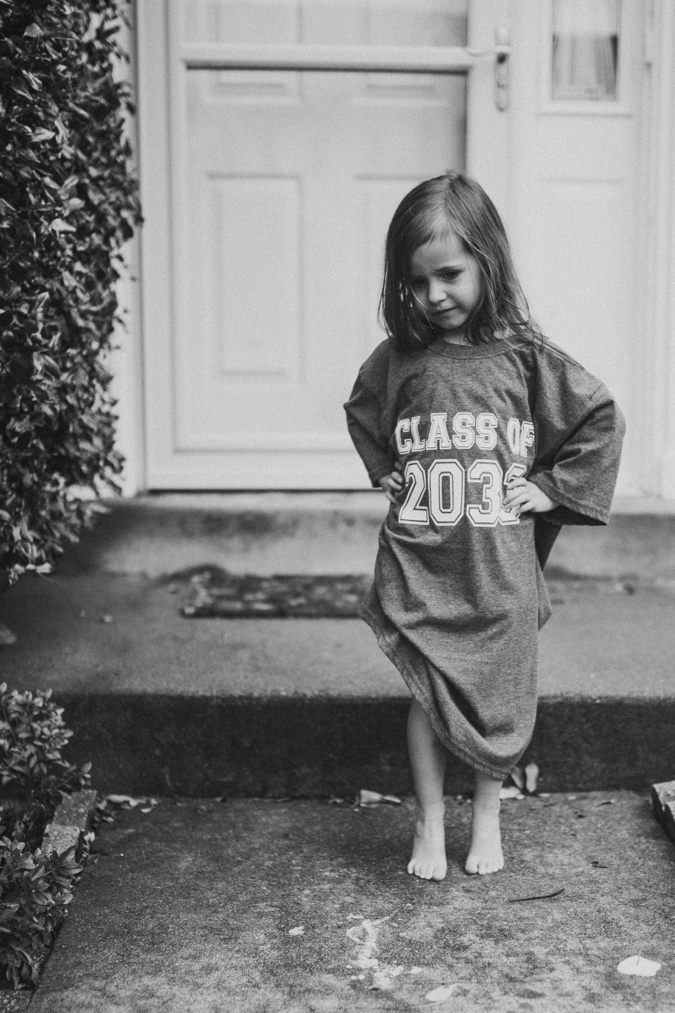 black and white class of 2033 shirt Toddler Girl Ashburn Virginia Lifestyle Documentary Family Marti Austin Photography