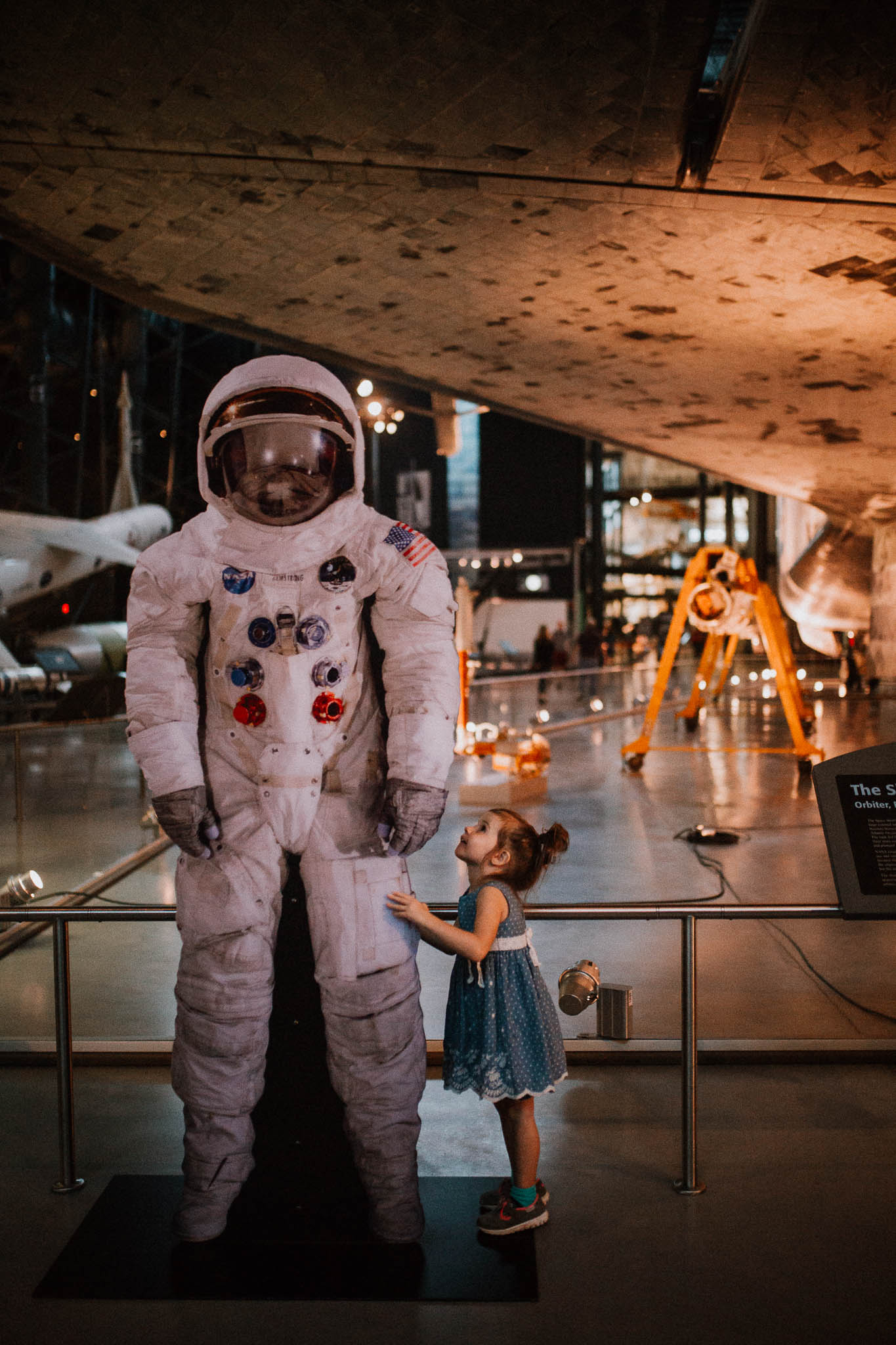 Udvar Hazy Air and Space Museum astronaut Space Shuttle Discovery Toddler Girl Ashburn Virginia Lifestyle Documentary Family Marti Austin Photography