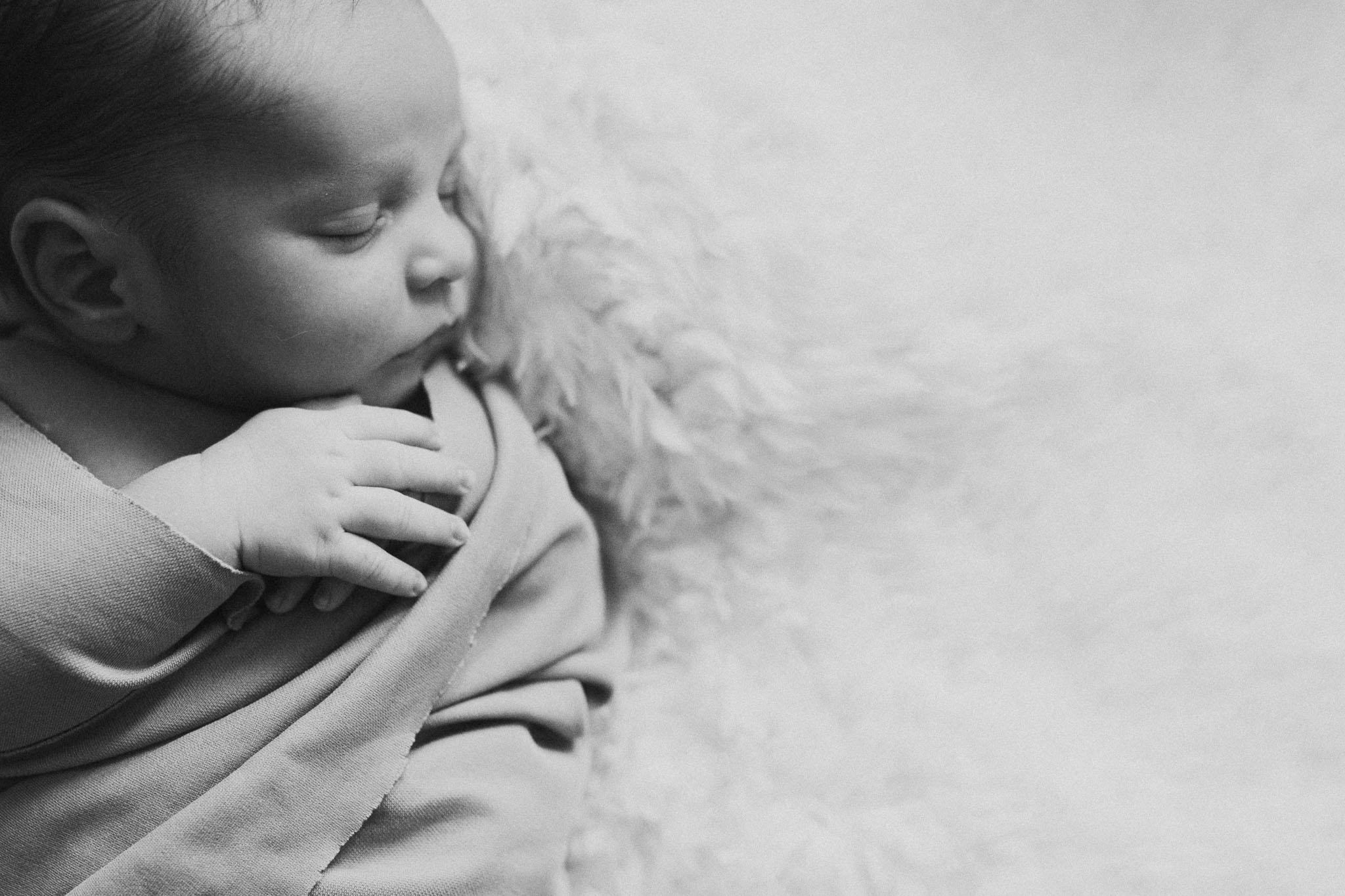 Black and white newborn baby boy Ashburn Virginia Lifestyle Loudoun Documentary Family Marti Austin Photography