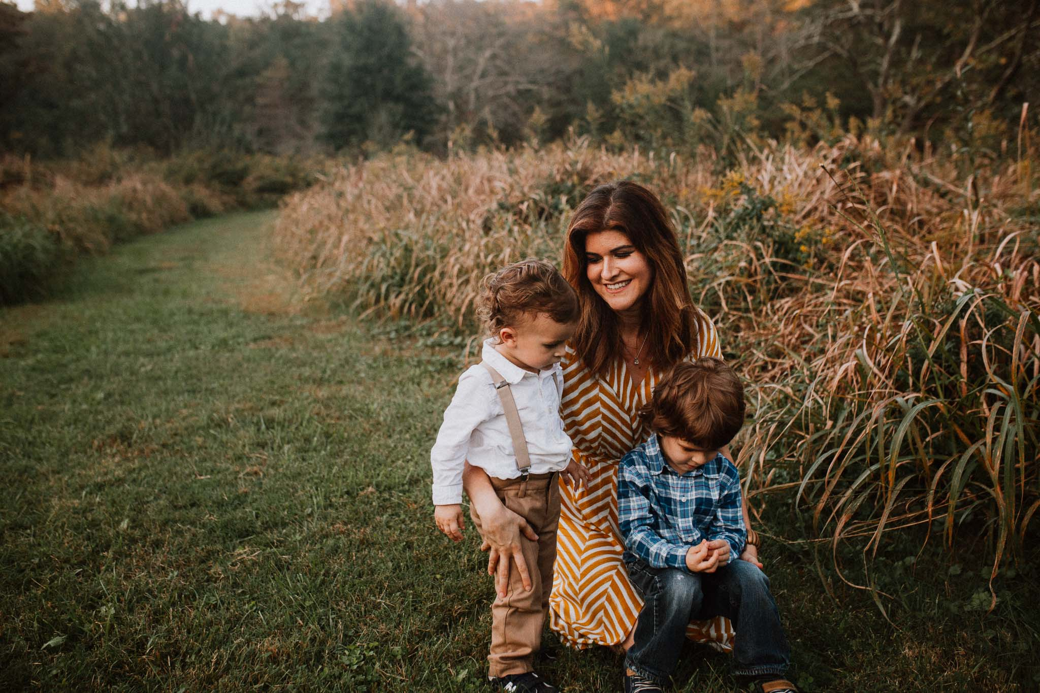 mother sons brothers siblings Fall Autumn Cabell's Mill Ellanor C. Lawrence Chantilly Fairfax Virginia Lifestyle Documentary Family Marti Austin Photography