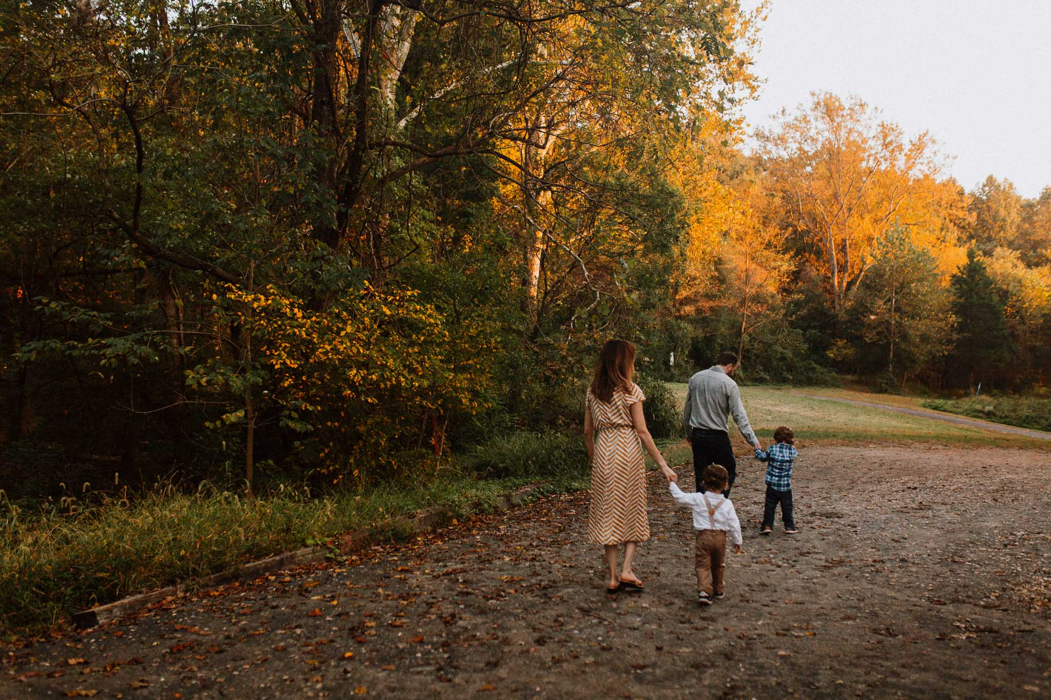 Sunset golden hour forest path Fall Autumn Cabell's Mill Ellanor C. Lawrence Chantilly Fairfax Virginia Lifestyle Documentary Family Marti Austin Photography