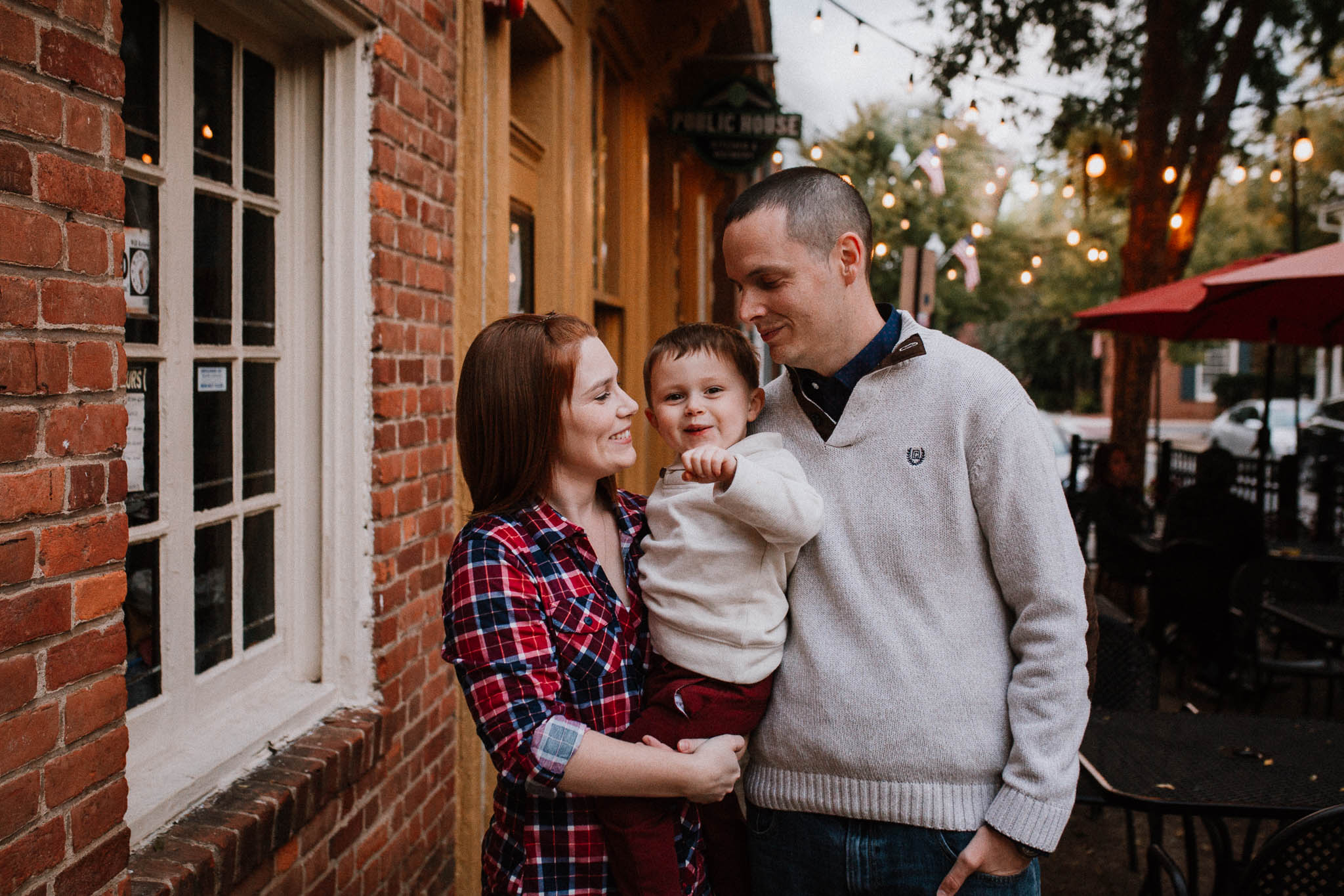 family of three mother father son fall autumn lifestyle documentary family Historic Old Town Manassas Virginia Marti Austin Photography