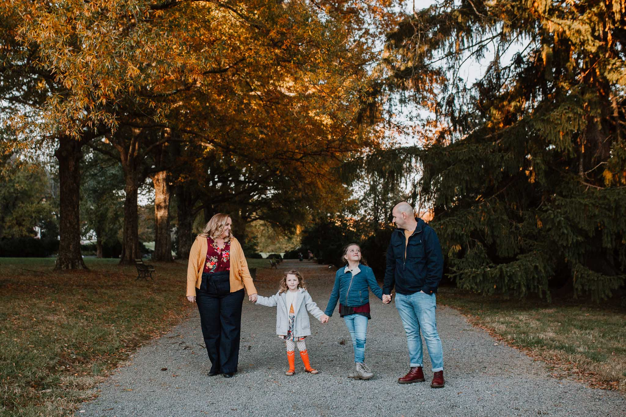 Family of four siblings sisters lifestyle documentary Morven Park Leesburg Loudoun Virginia Fall Autumn Marti Austin Photography
