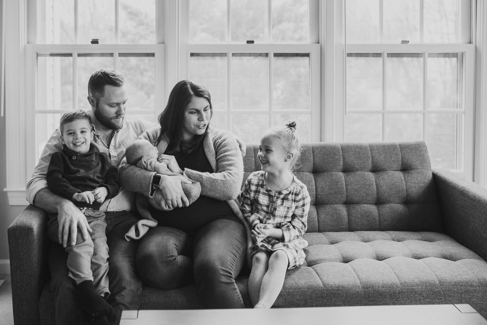 black and white family of five father mother siblings  lifestyle documentary in home family newborn ashburn loudoun virginia Marti Austin Photography