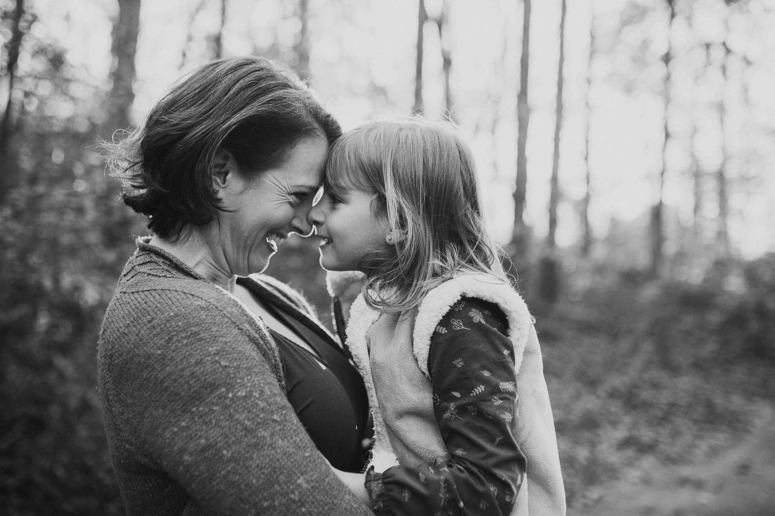 black and white mother daughter hug laugh lifestyle family documentary fall autumn sunset golden Cabell's Mill Ellanor C Lawrence Chantilly Virginia Marti Austin Photography