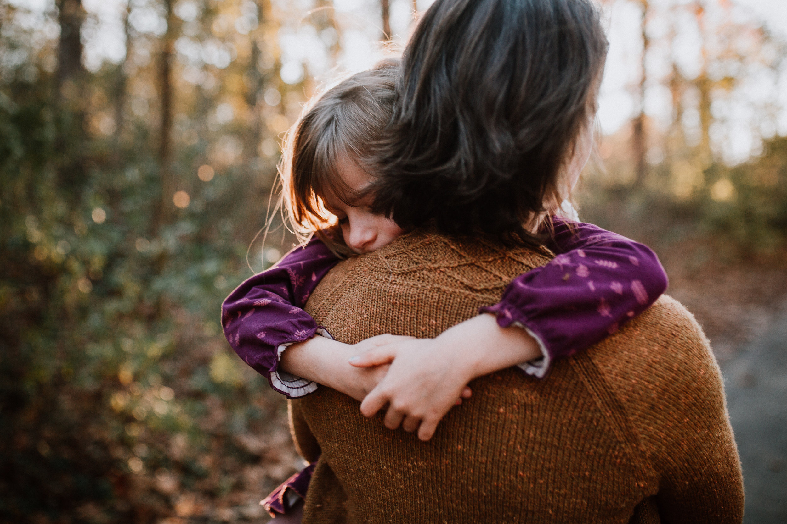 mother daughter hug hands lifestyle family documentary fall autumn sunset golden Cabell's Mill Ellanor C Lawrence Chantilly Virginia Marti Austin Photography