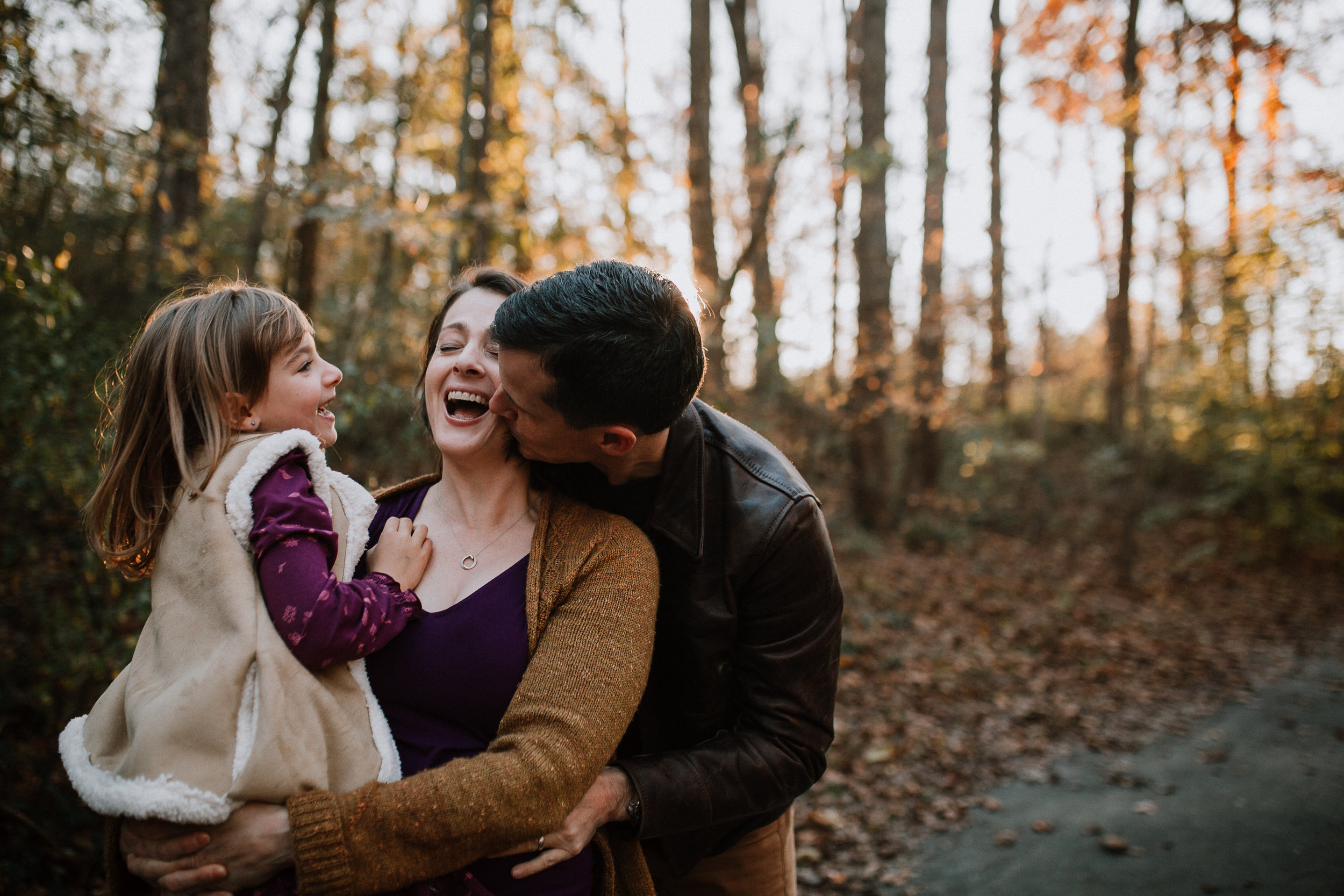 family of three mother father daughter laugh lifestyle family documentary fall autumn sunset golden Cabell's Mill Ellanor C Lawrence Chantilly Virginia Marti Austin Photography
