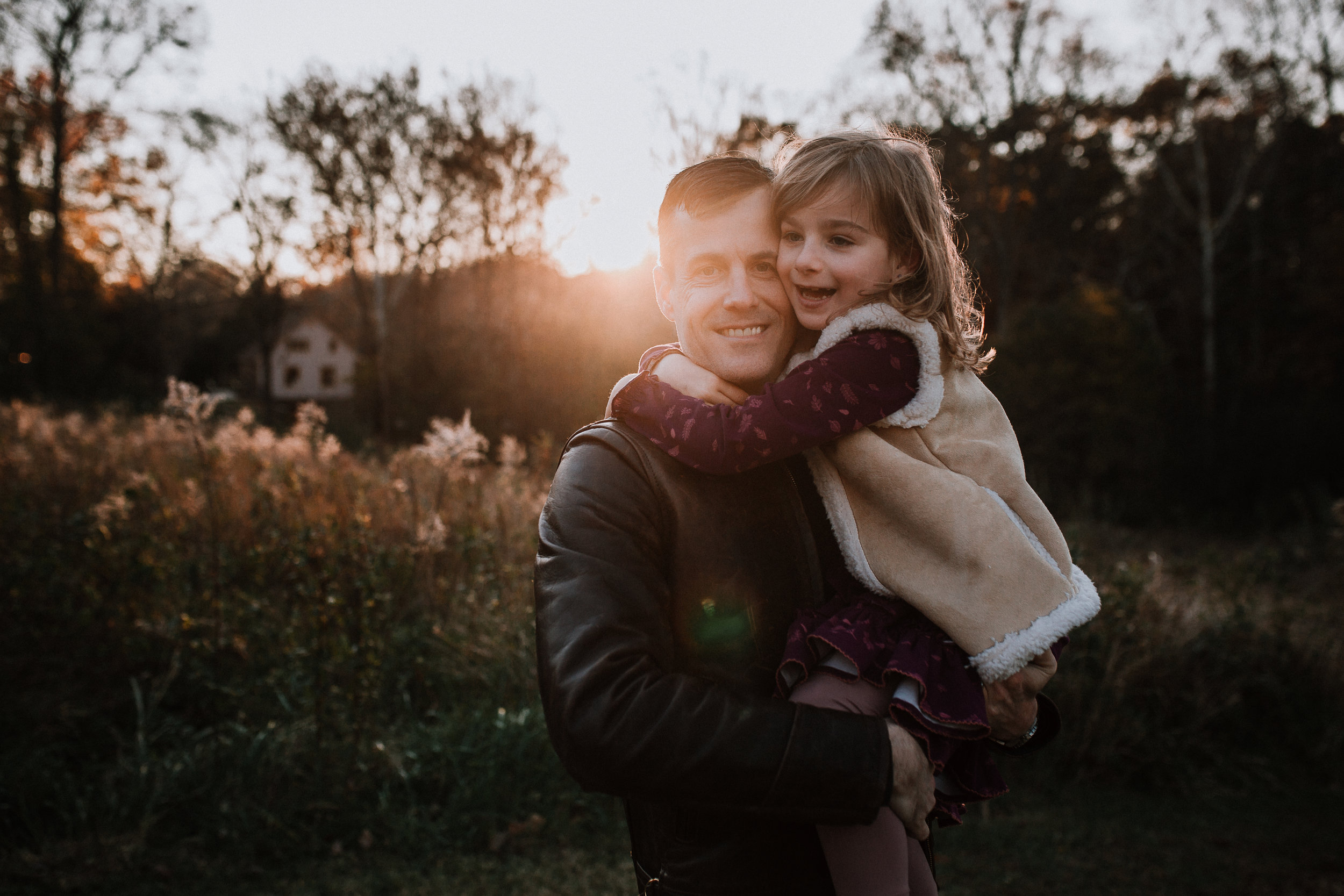 father daughter hug lifestyle family documentary fall autumn sunset golden Cabell's Mill Ellanor C Lawrence Chantilly Virginia Marti Austin Photography