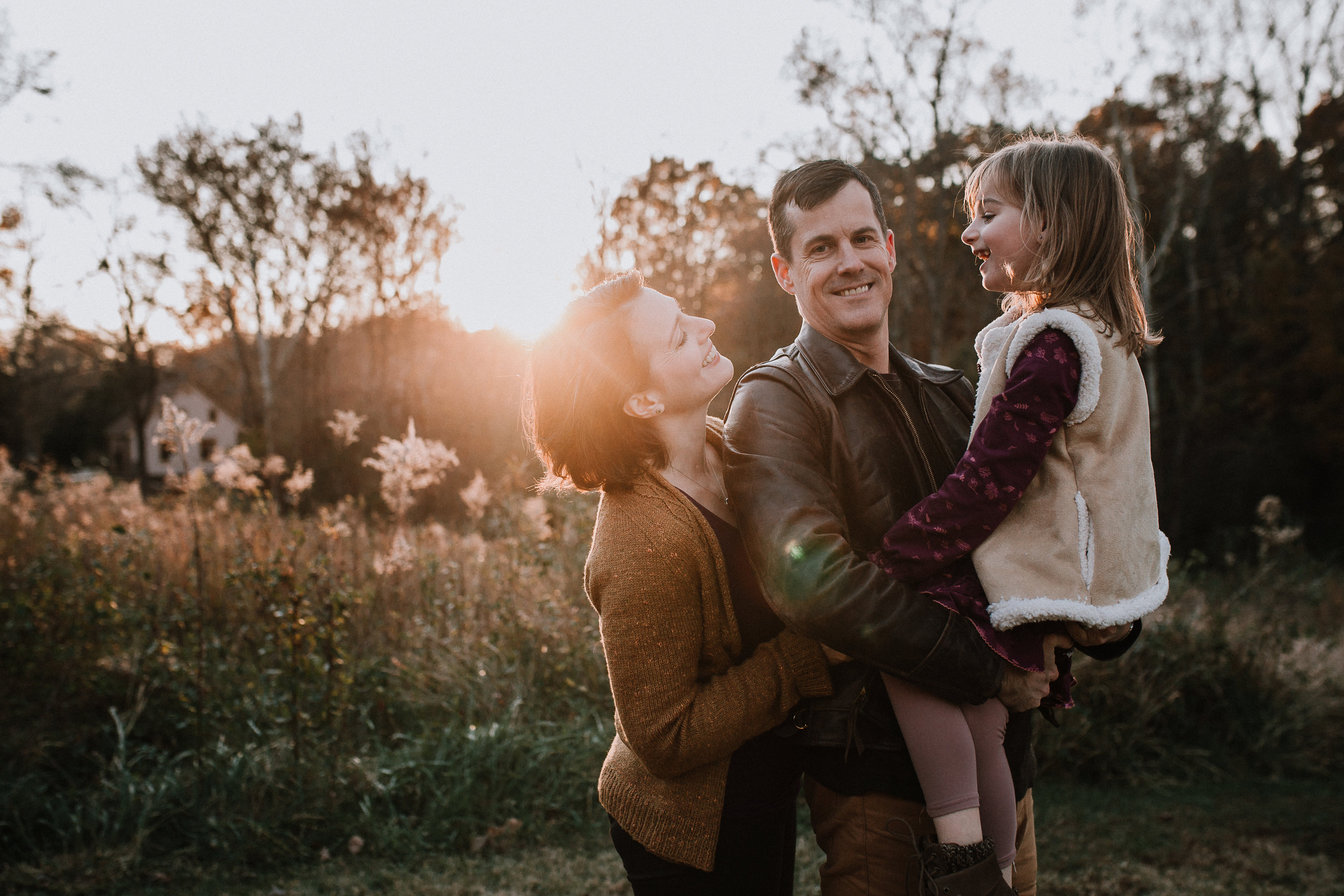 family of three mother father daughter lifestyle family documentary fall autumn sunset golden Cabell's Mill Ellanor C Lawrence Chantilly Virginia Marti Austin Photography