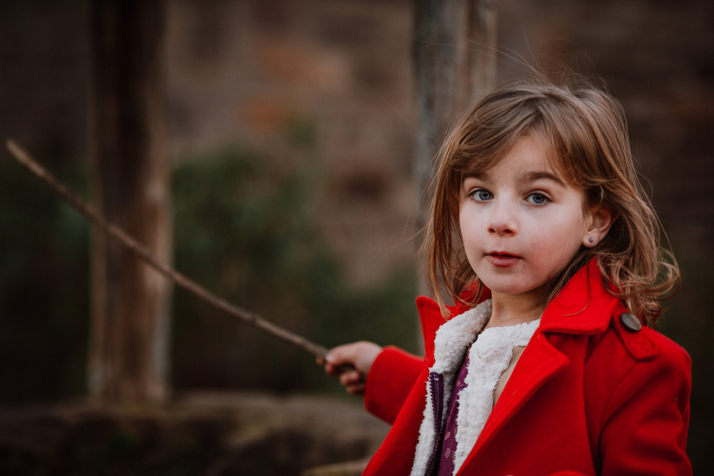 girl portrait red coat lifestyle family documentary fall autumn sunset golden Cabell's Mill Ellanor C Lawrence Chantilly Virginia Marti Austin Photography