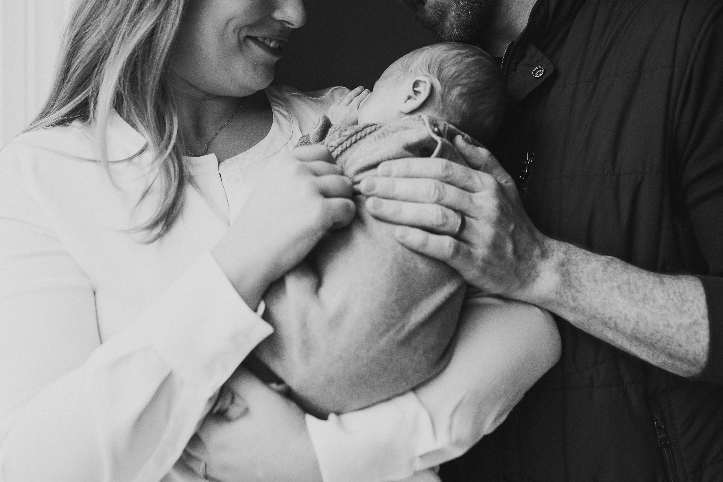 black and white mother father newborn son lifestyle documentary family Great Falls Virginia Marti Austin Photography