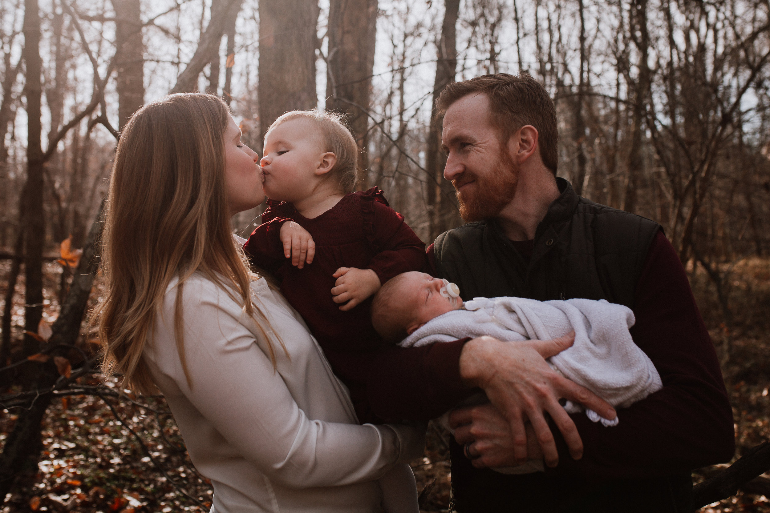 outdoor fall autumn family of four mother father son daughter lifestyle documentary family Great Falls Virginia Marti Austin Photography