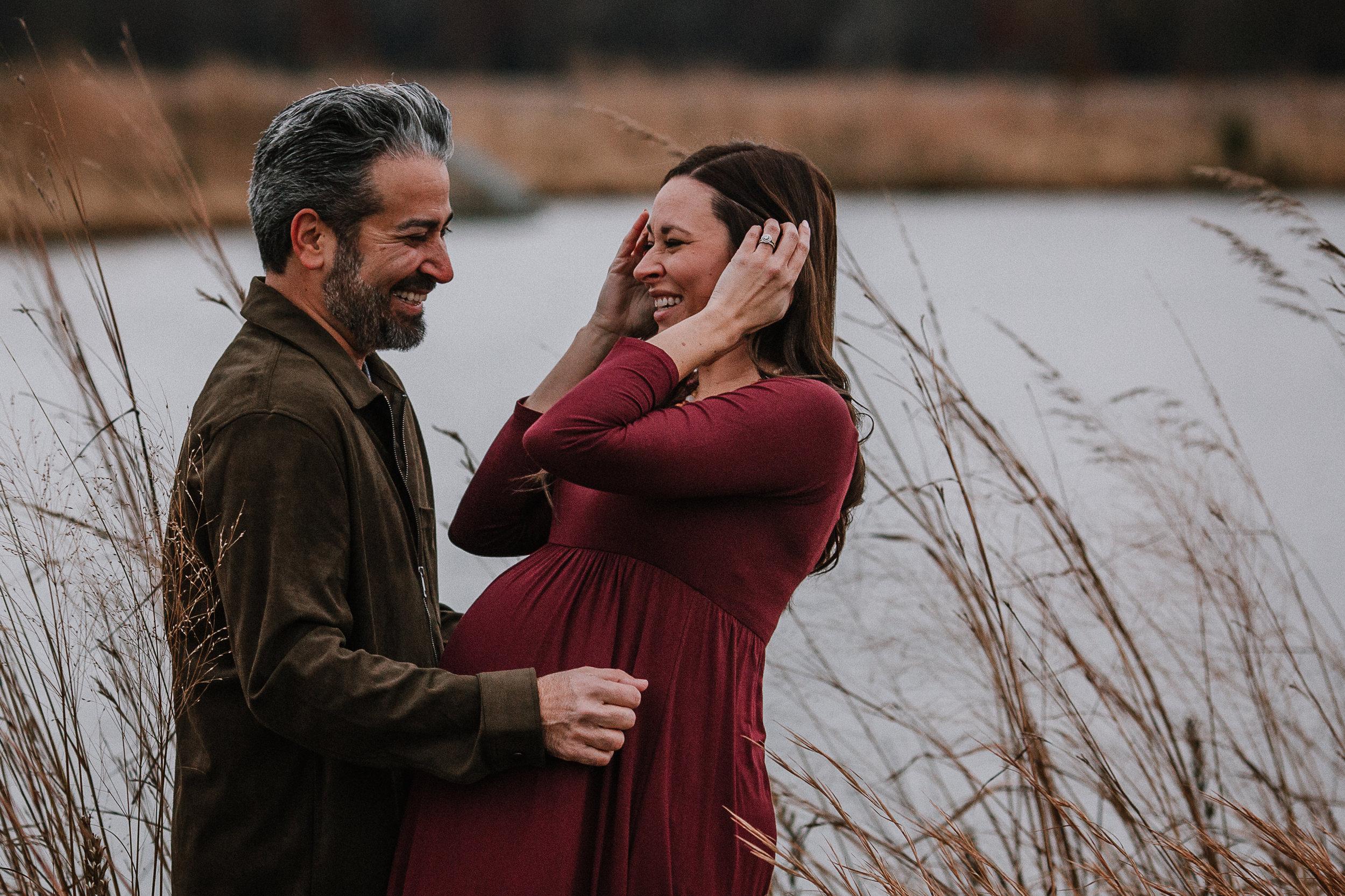 couple laugh pregnancy bump fall autumn sunset lifestyle documentary maternity couple family Aldie Willowsford Boat House Loudoun Virginia Marti Austin Photography