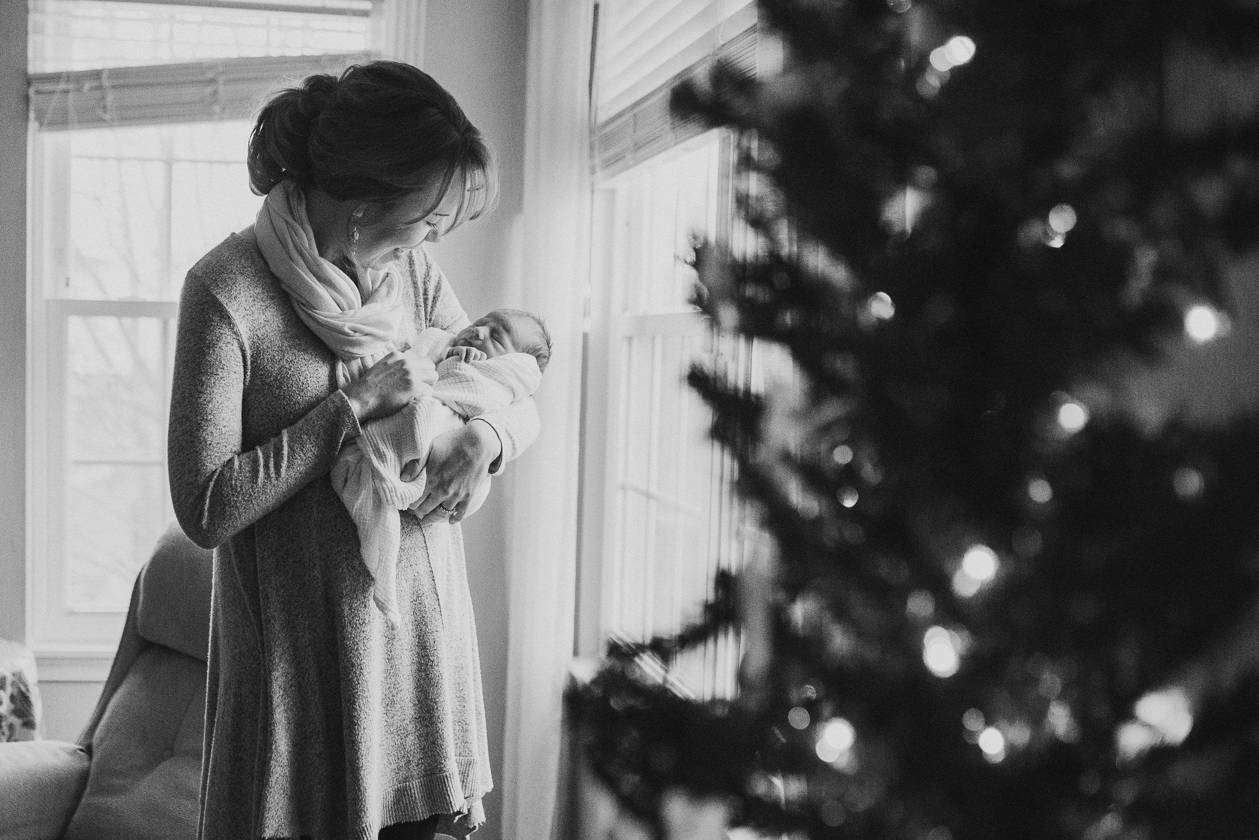 black and white mother son Newborn baby boy lifestyle documentary family Ashburn Virginia Loudoun Marti Austin Photography