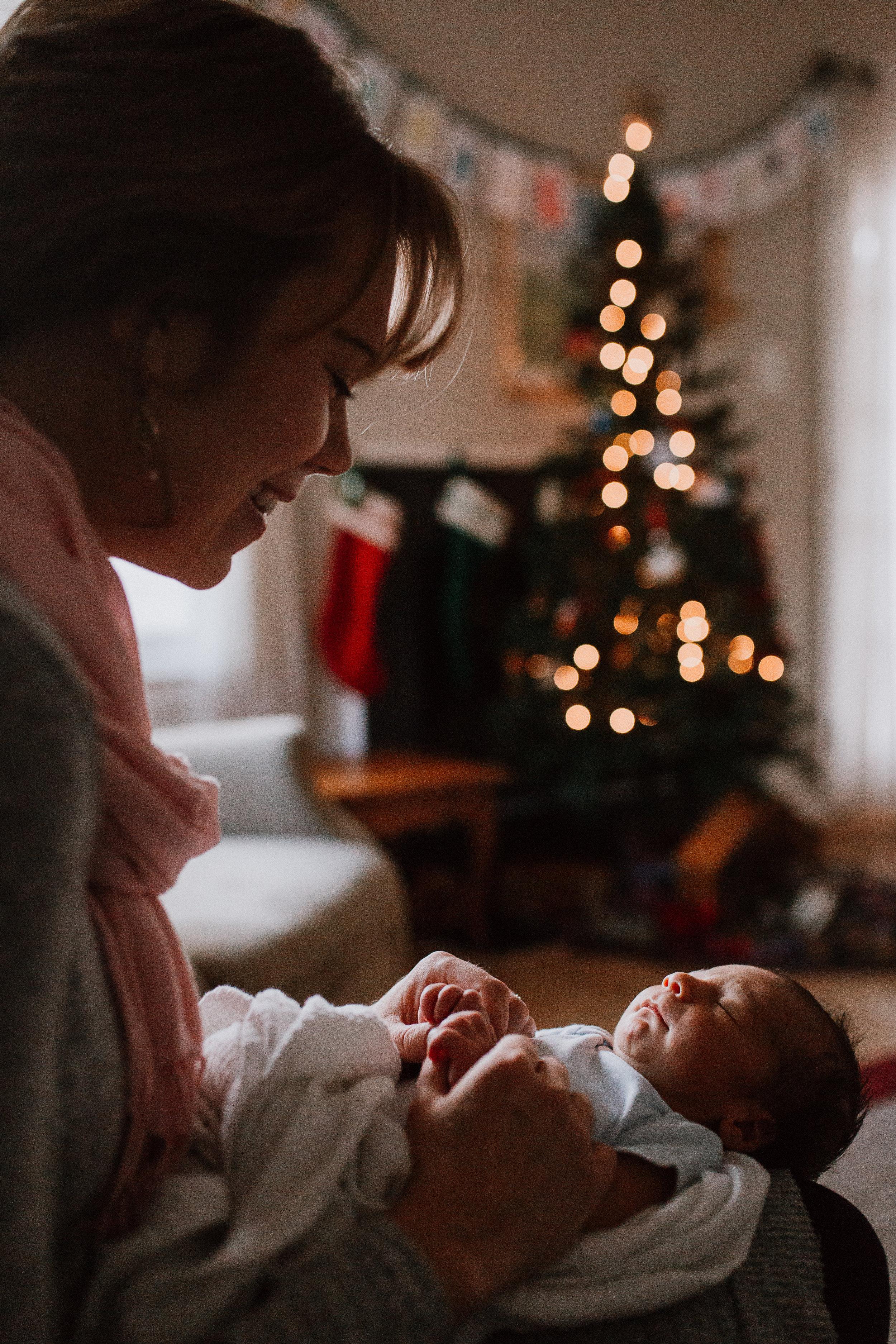 mother son Christmas tree lights Newborn baby boy lifestyle documentary family Ashburn Virginia Loudoun Marti Austin Photography