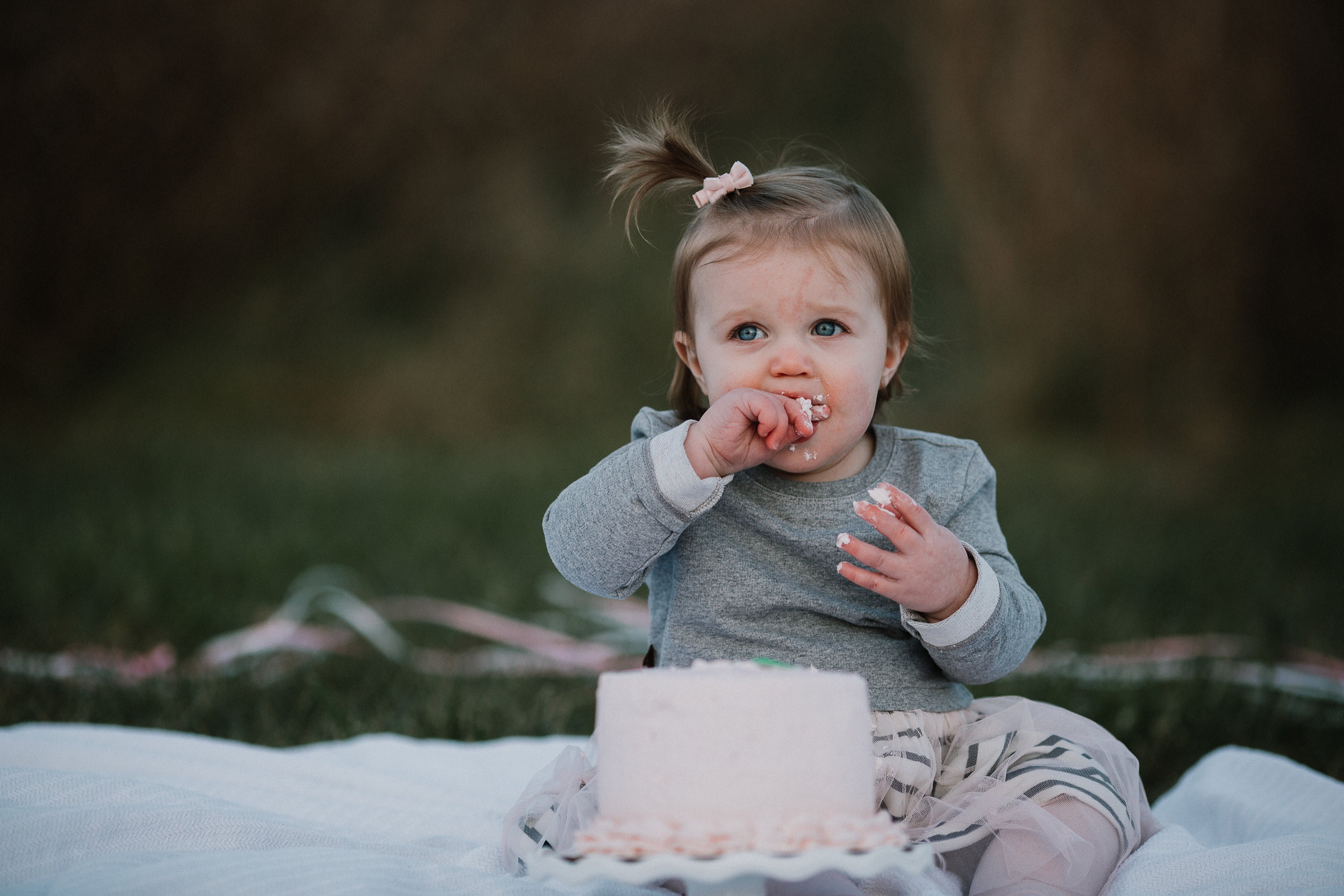 one year old toddler girl Lifestyle Documentary Fall Autumn Sunset Golden Hour Family toddler first birthday cake smash Beaverdam Run Broadlands Loudoun Virginia Marti Austin Photography