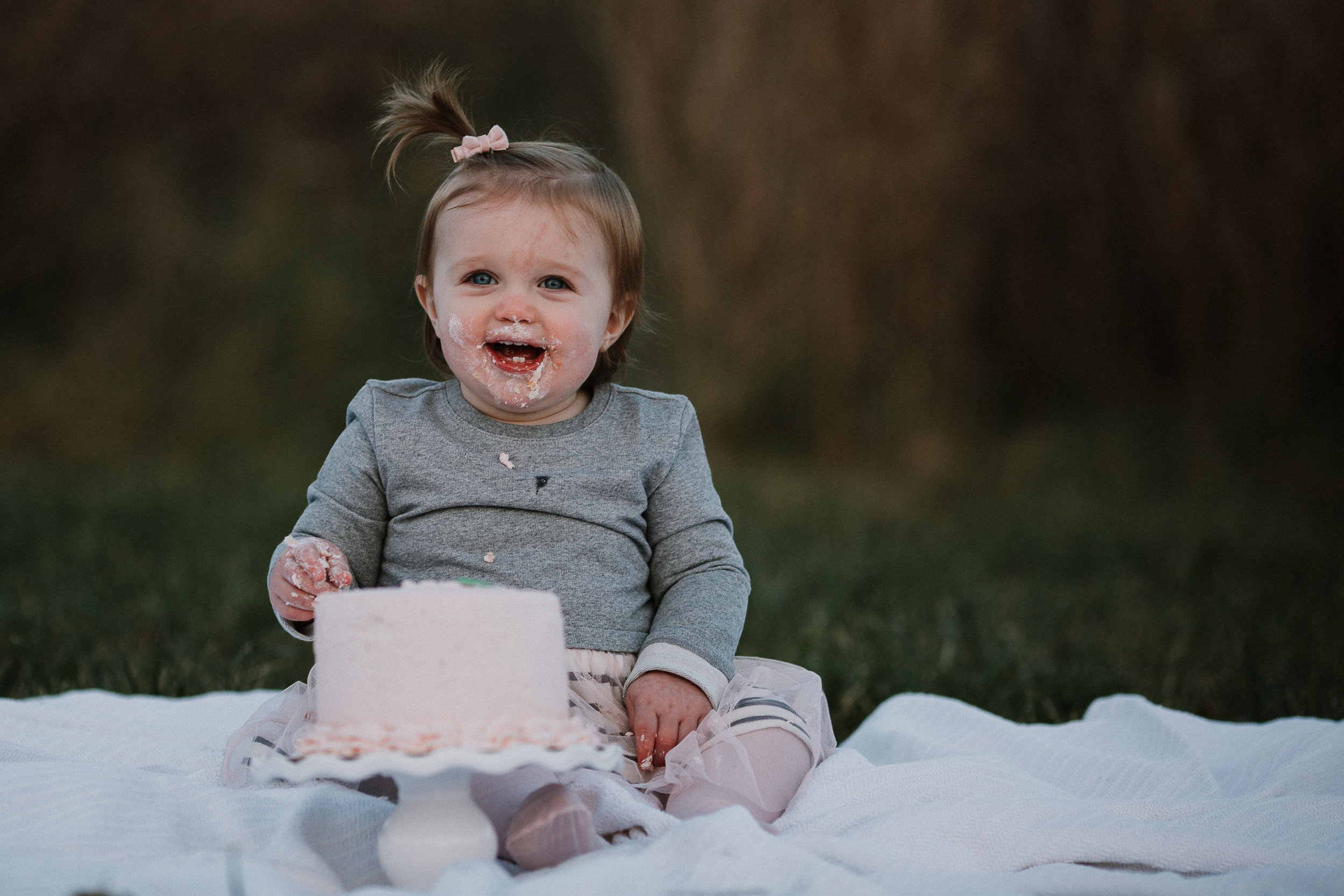 one year old baby girl Lifestyle Documentary Fall Autumn Sunset Golden Hour Family toddler first birthday cake smash Beaverdam Run Broadlands Loudoun Virginia Marti Austin Photography