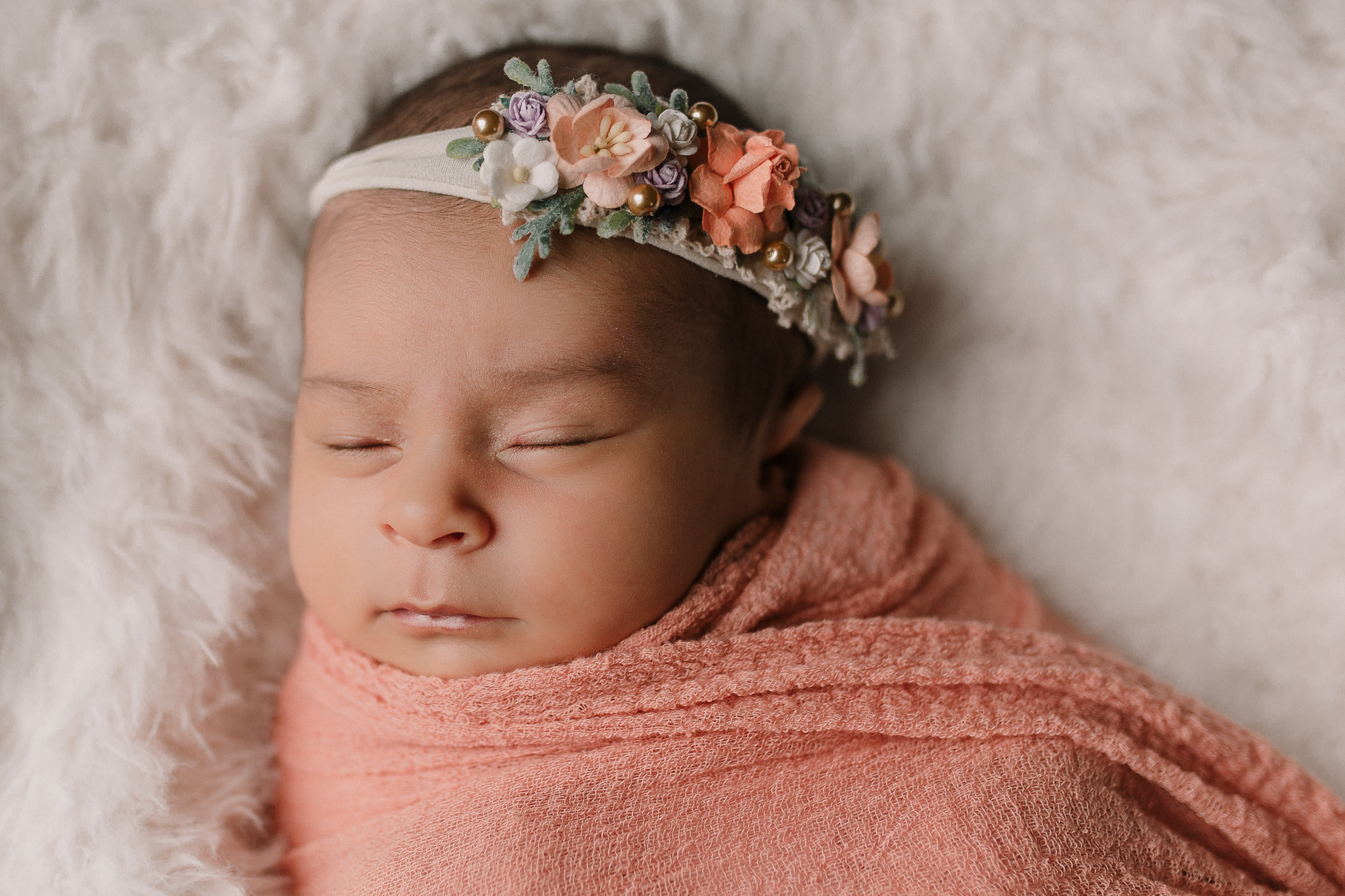 newborn portrait pink lavender  headband in home lifestyle documentary newborn baby girl family Aldie Loudoun Virginia Marti Austin Photography