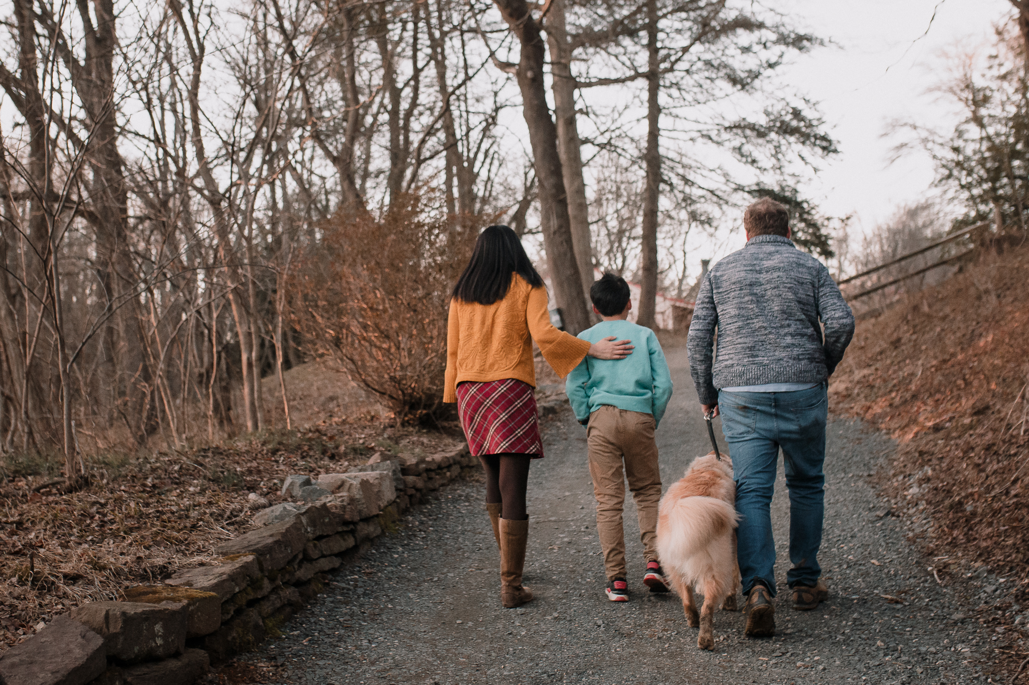 family of four mother father son dog Lifestyle Documentary Found Families Adoption Outdoor Golden Hour Sunset Colvin Run Mill Great Falls Virginia Marti Austin Photography