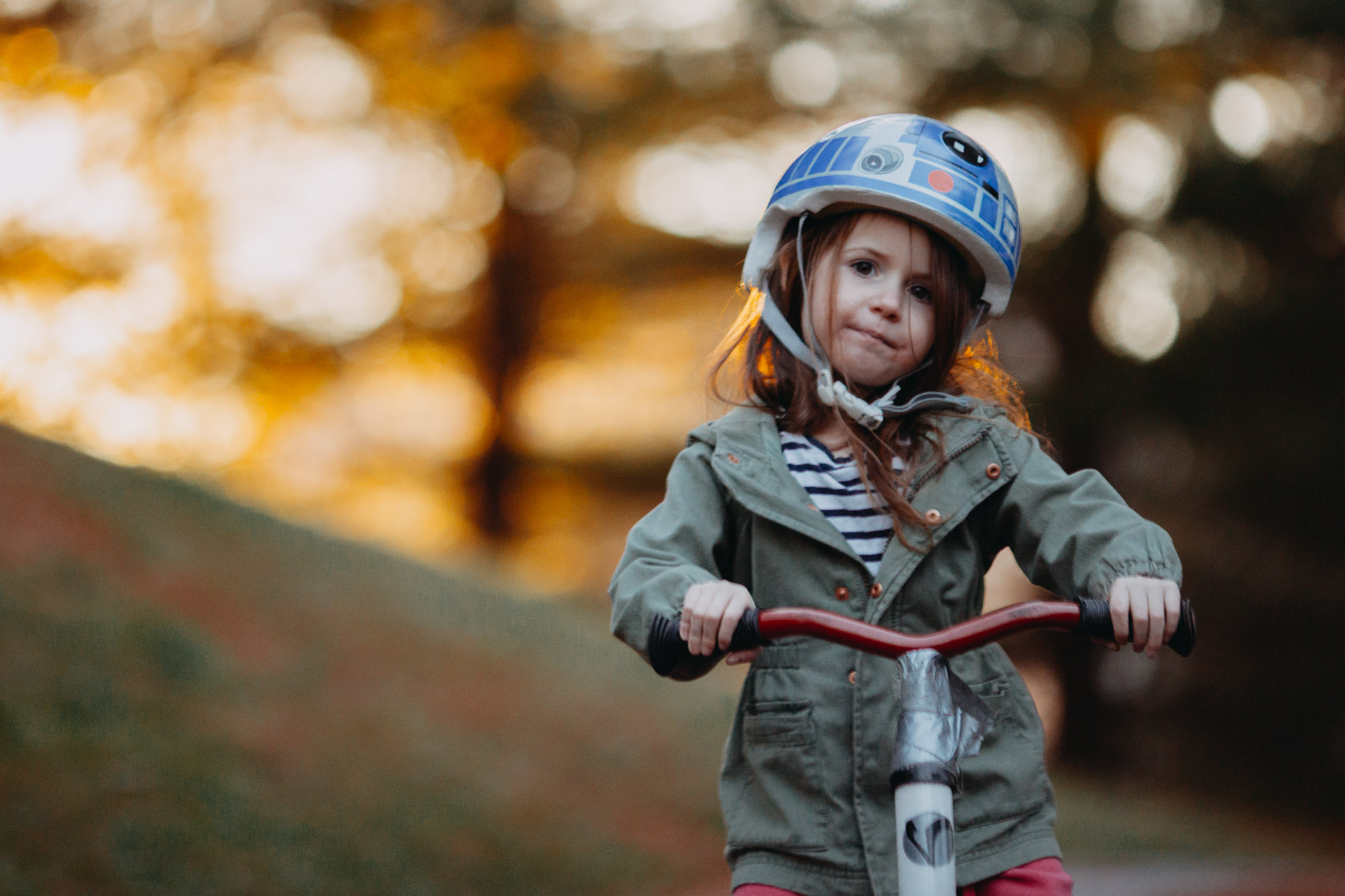 girl bike R2D2 sunset golden hour childhood lifestyle documentary Ashburn Virginia Marti Austin Photography