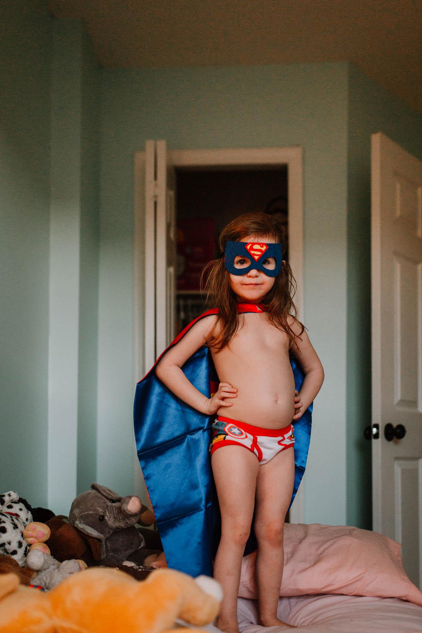 Superhero mask cape childhood lifestyle documentary Ashburn Virginia Marti Austin Photography
