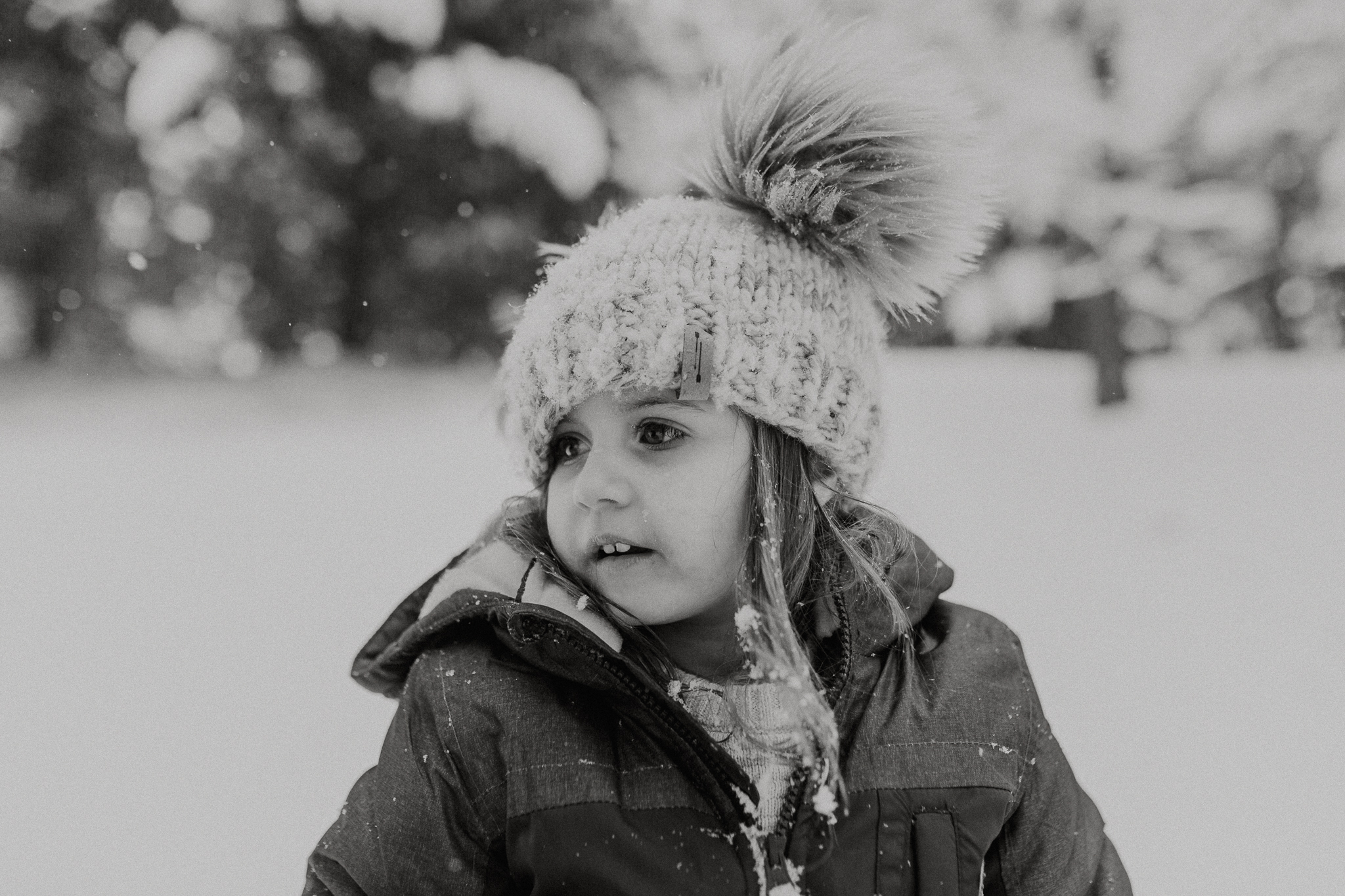 black and white snow day portrait childhood lifestyle documentary Ashburn Virginia Marti Austin Photography