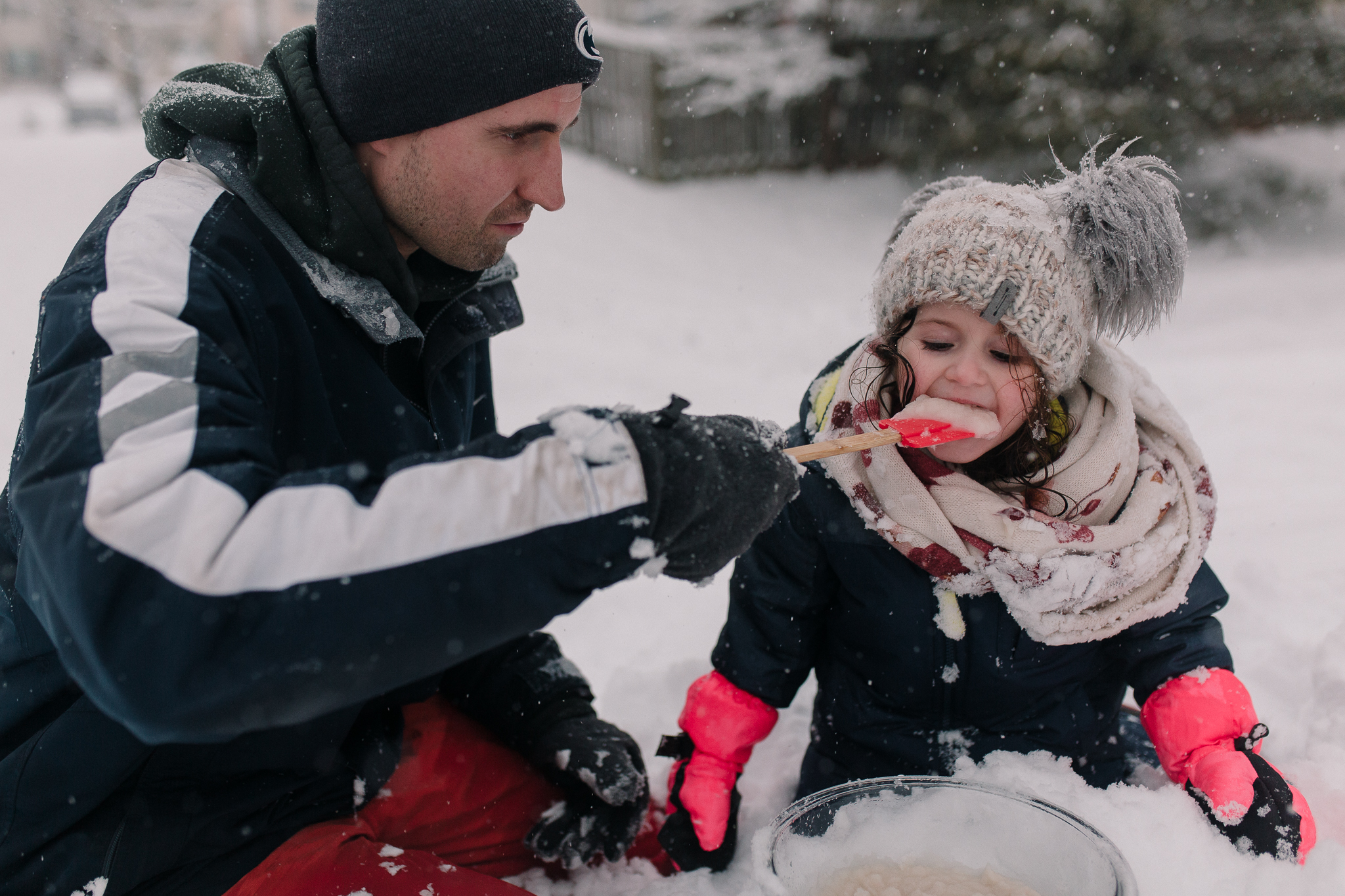 father daughter snow ice cream winter childhood lifestyle documentary Ashburn Virginia Marti Austin Photography