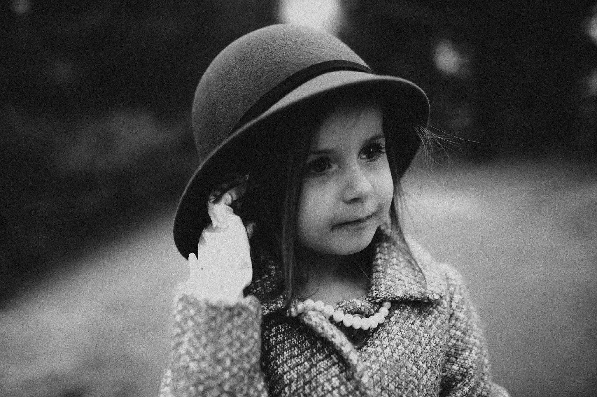 girl hat portrait black and white childhood lifestyle documentary Ashburn Virginia Marti Austin Photography