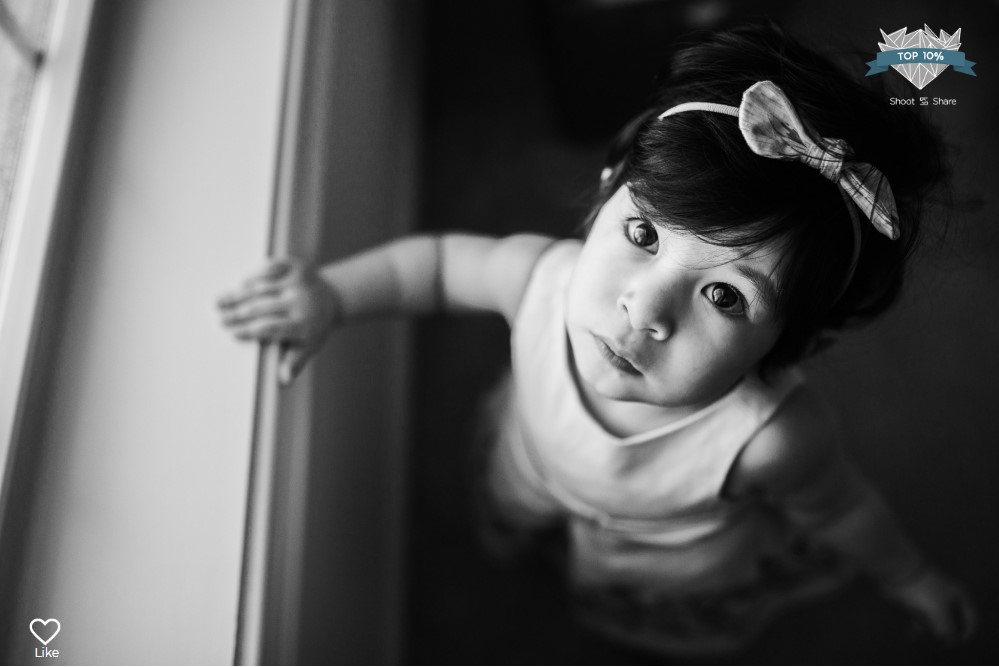 black and white toddler one year old girl lifestyle documentary ashburn loudoun virginia shoot and share contest Marti Austin Photography