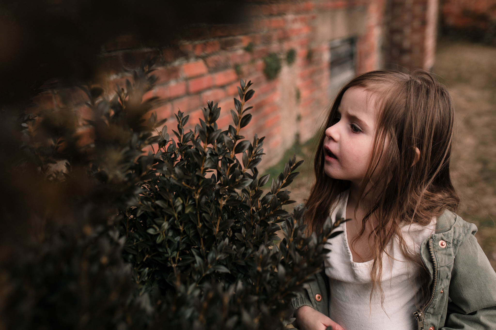 girl exploring brick wall plant leaves bush Morven Park lifestyle documentary family Ashburn Loudoun northern Virginia  childhood Marti Austin Photography