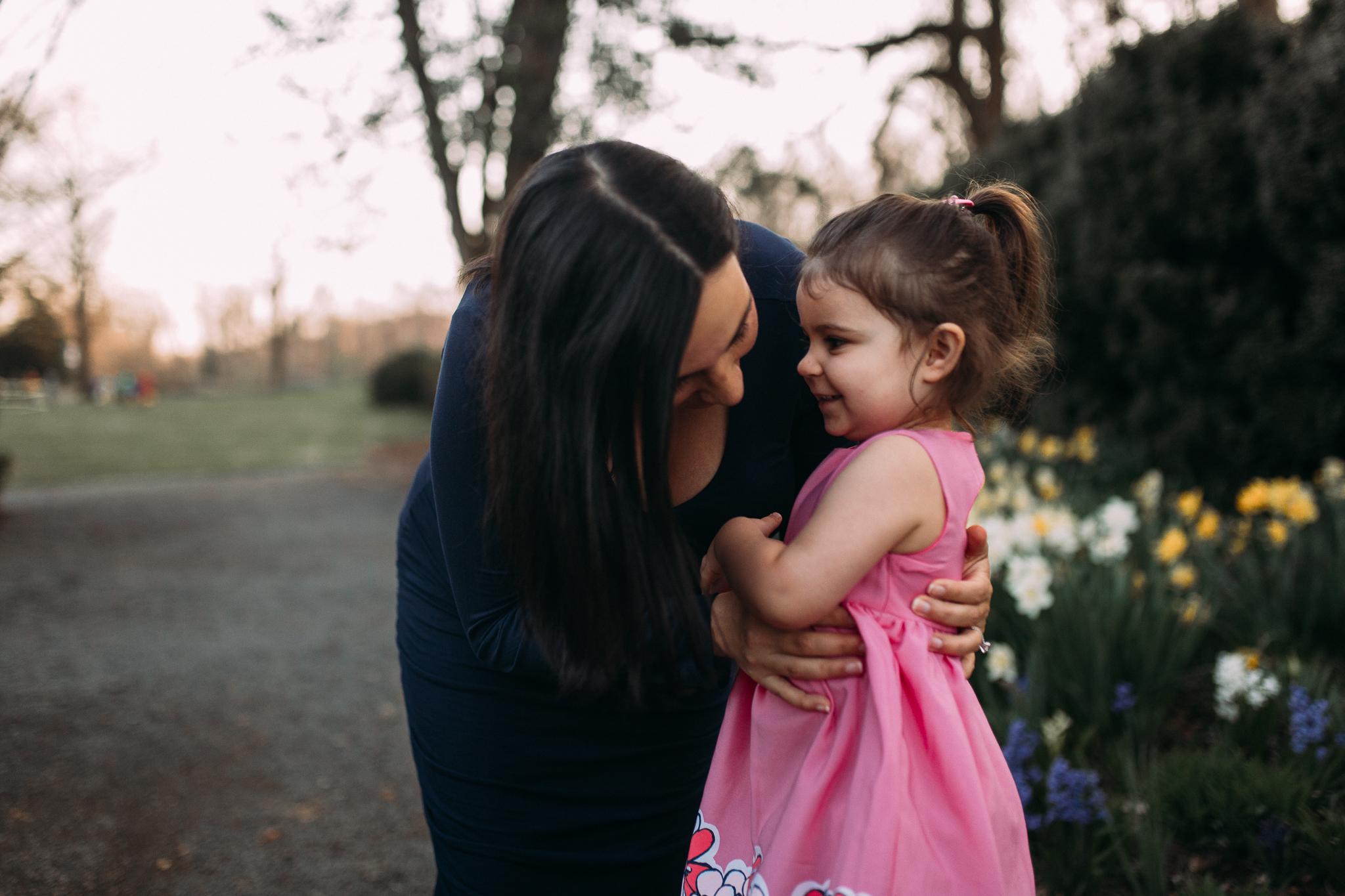 mother daughter hug tickle family maternity lifestyle documentary Morven Park Leesburg Loudoun Virginia Spring Golden Hour Sunset Marti Austin Photography