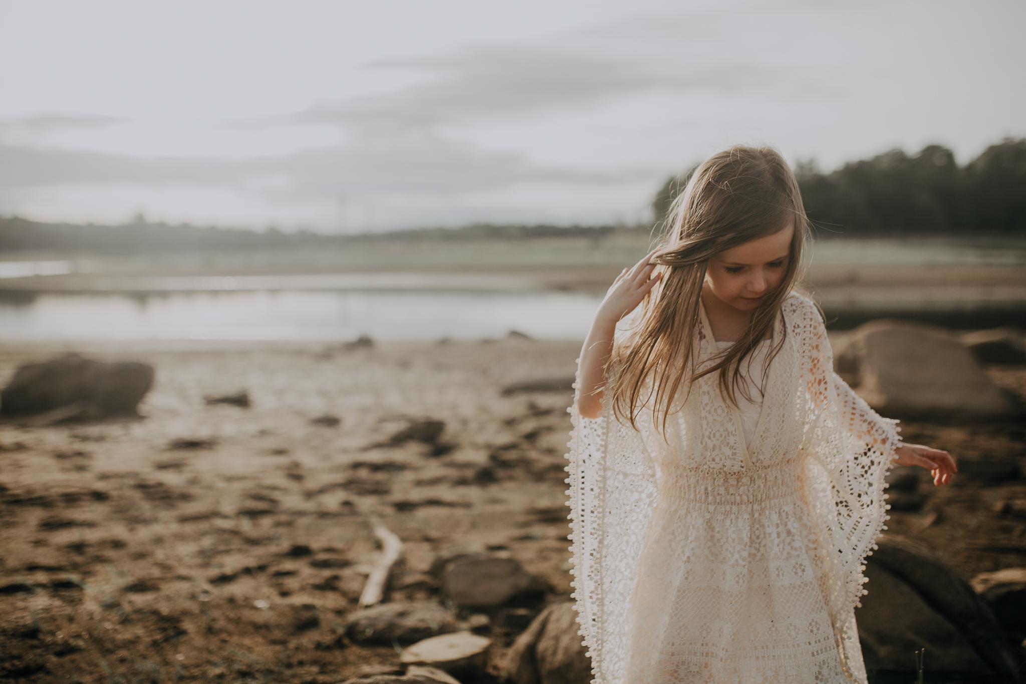 girl at beach white dress sunset golden hour beaverdam reservoir lifestyle documentary family Ashburn Loudoun Northern Virginia Marti Austin Photography