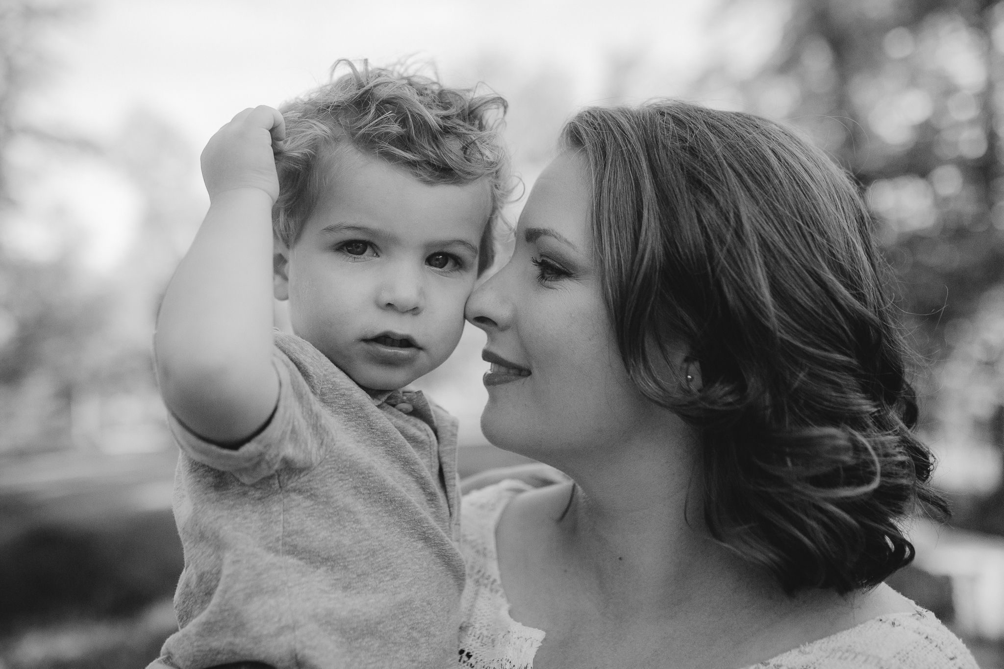 black and white mother son outdoor sunset golden hour The Barn at One Loudoun Ashburn Northern Virginia Liifestyle Documentary Family Marti Austin Photography