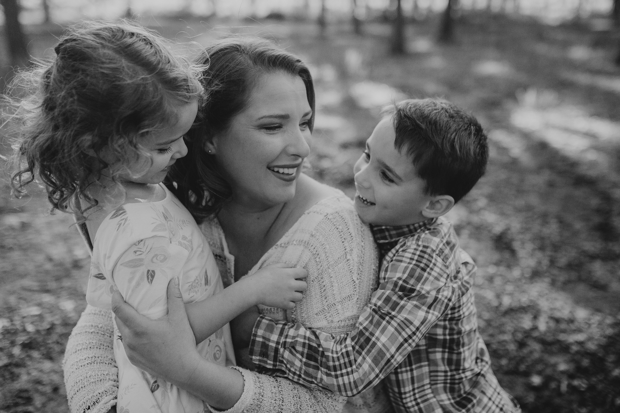 black and white mother daughter son siblings outdoor sunset golden hour The Barn at One Loudoun Ashburn Northern Virginia Liifestyle Documentary Family Marti Austin Photography