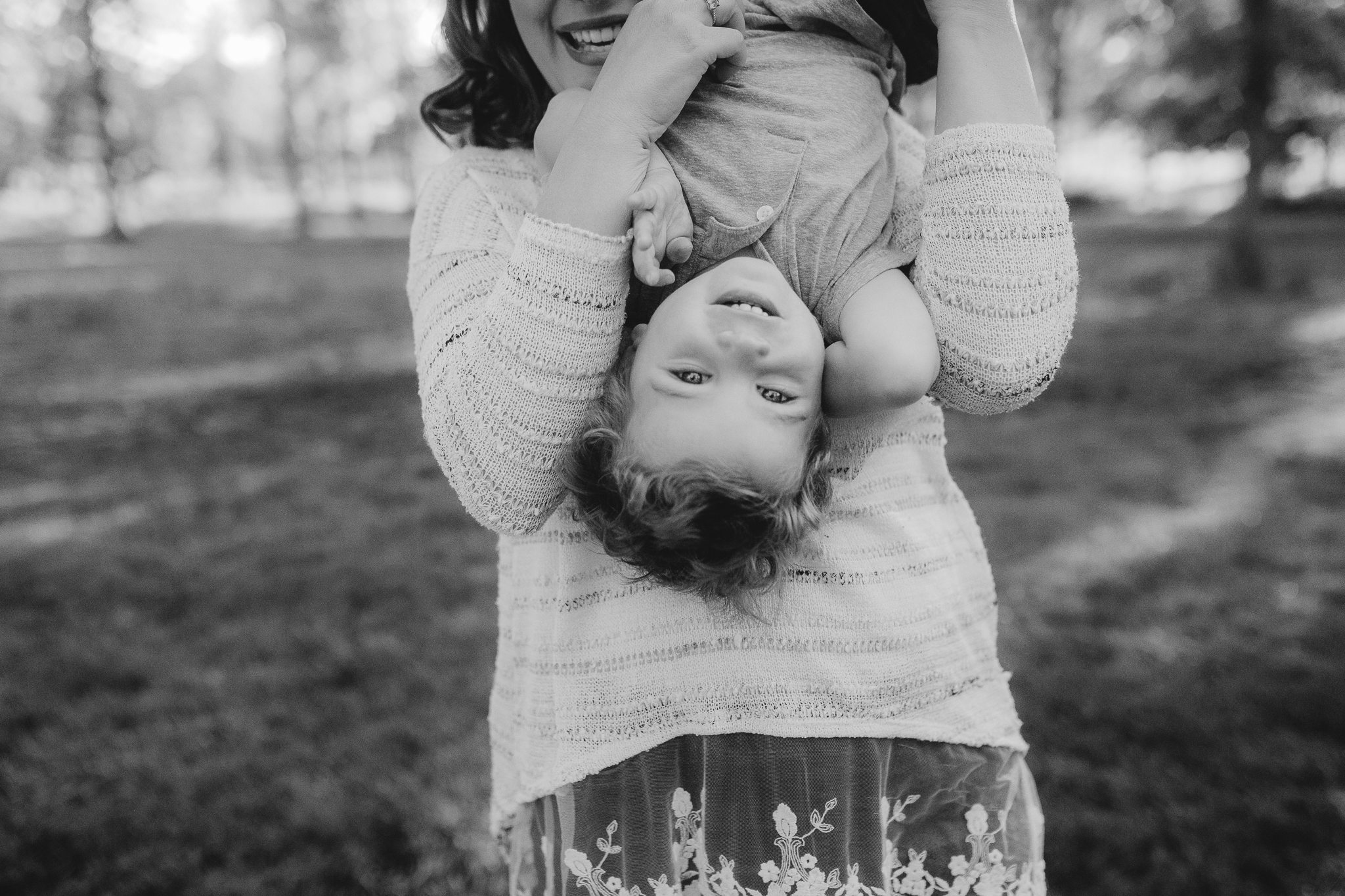 black and white toddler upside down outdoor sunset golden hour The Barn at One Loudoun Ashburn Northern Virginia Liifestyle Documentary Family Marti Austin Photography