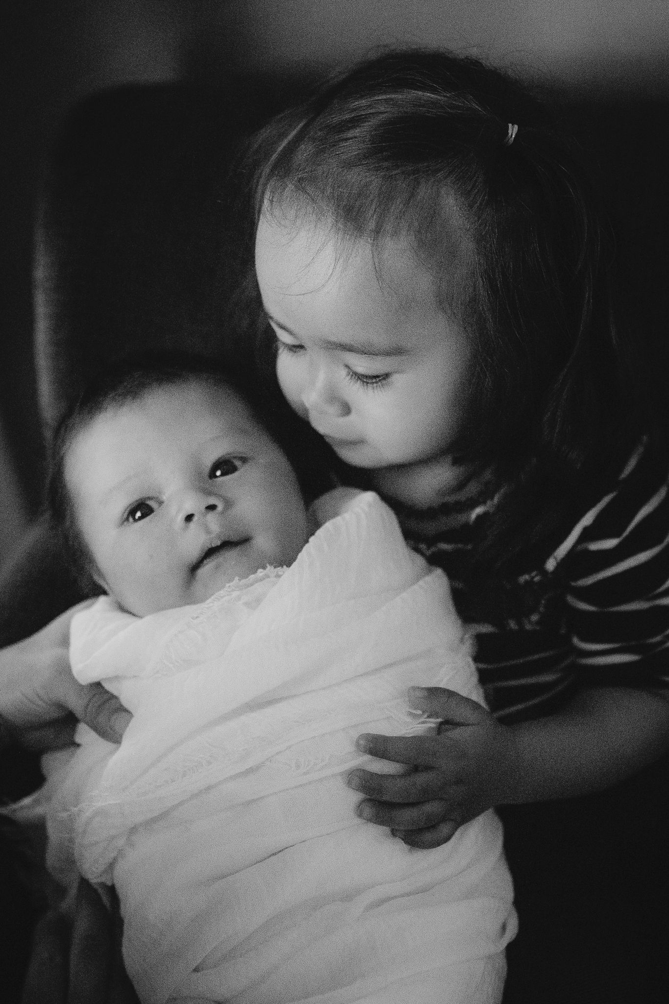 black and white siblings big sister baby brother boy  lifestyle documentary newborn family Aldie Loudoun Virginia Marti Austin Photography