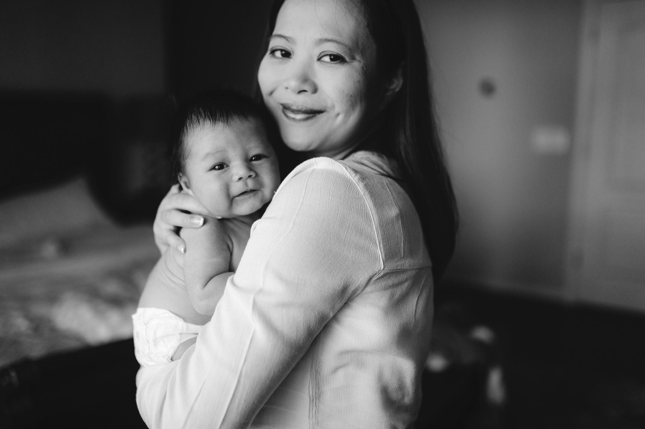 black and white mother son baby boy lifestyle documentary newborn family Aldie Loudoun Virginia Marti Austin Photography