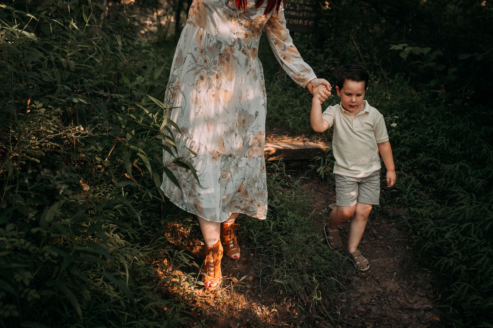 mother son holding hands  Brambleton Beaverdam Reservoir Loudoun Virginia Lifestyle Documentary Family Marti Austin Photography