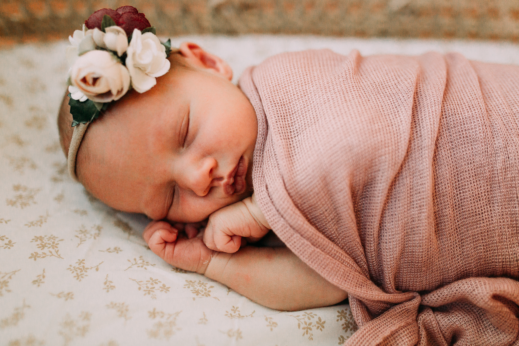 portrait floral headband newborn baby girl lifestyle documentary family Leesburg Loudoun Virginia Marti Austin Photography