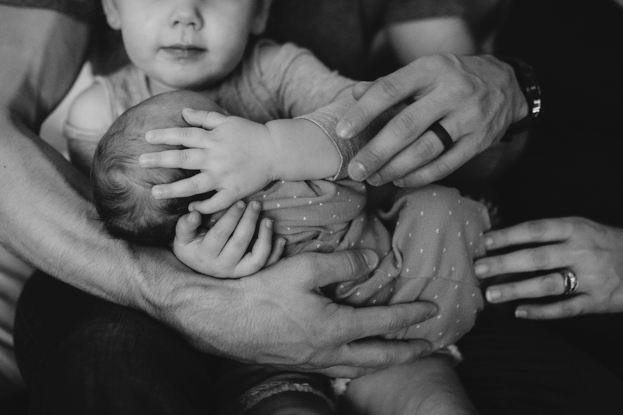 black and white hands details newborn baby girl lifestyle documentary family Leesburg Loudoun Virginia Marti Austin Photography