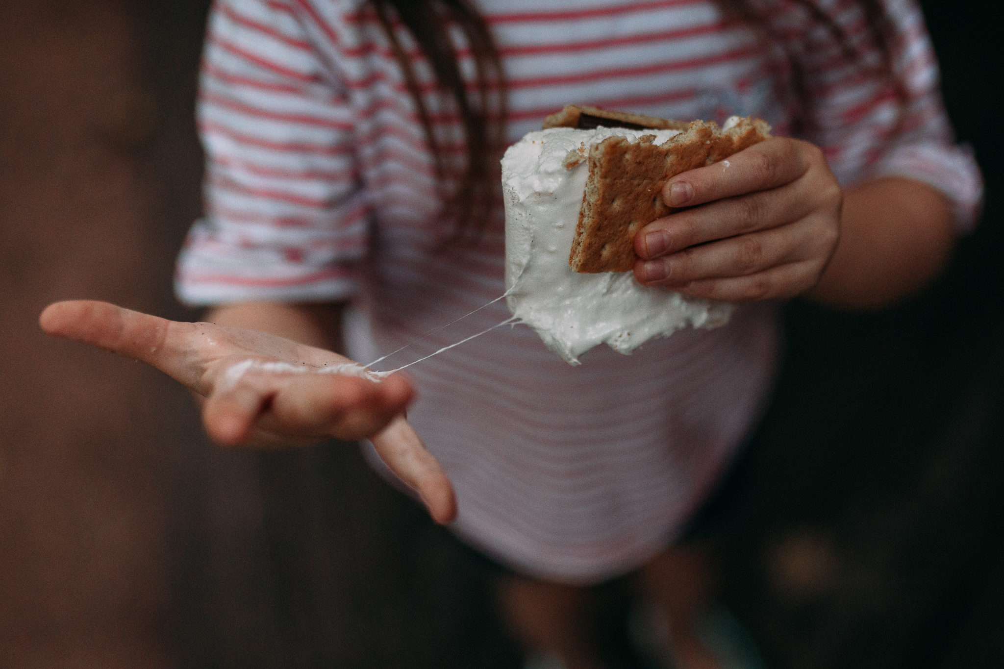 marshmallow smore hands details messy summer Ashburn Loudoun Northern Virginia family lifestyle documentary childhood Marti Austin Photography