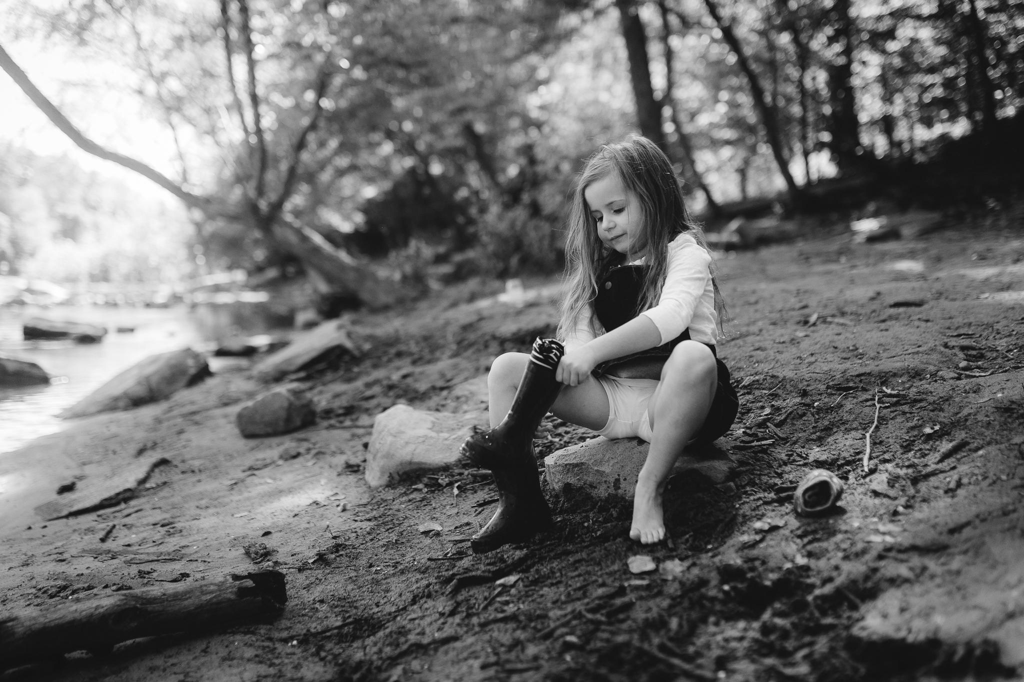 black and white girl creek Kephart Bridge Landing fishing rain boots barefoot summer Ashburn Loudoun Northern Virginia family lifestyle documentary childhood Marti Austin Photography