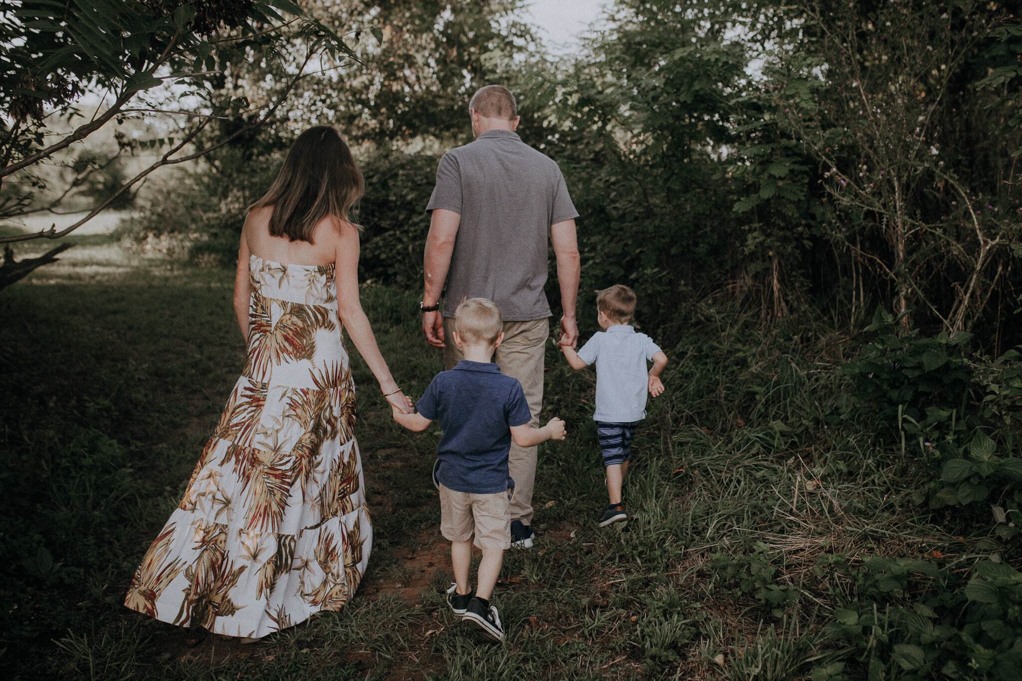 family of four walking forest woods sunset brothers Ida Lee Leesburg Loudoun Virginia Lifestyle Documentary Maternity Family Marti Austin Photography